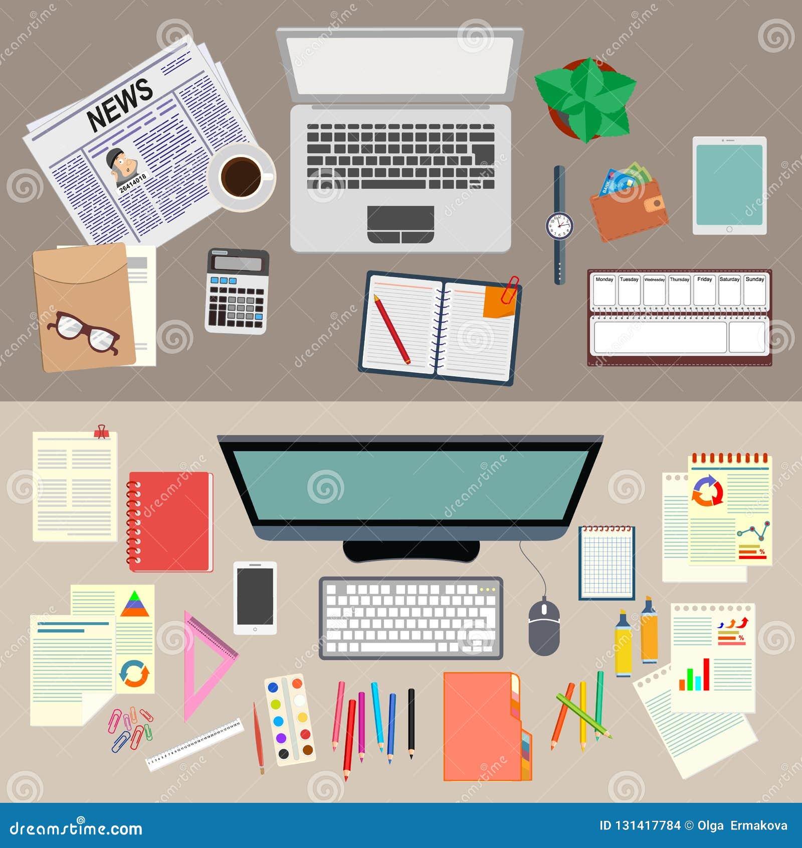 办公室 工作 现实工作场所组织 顶视图 设计例证股票您使用的向量