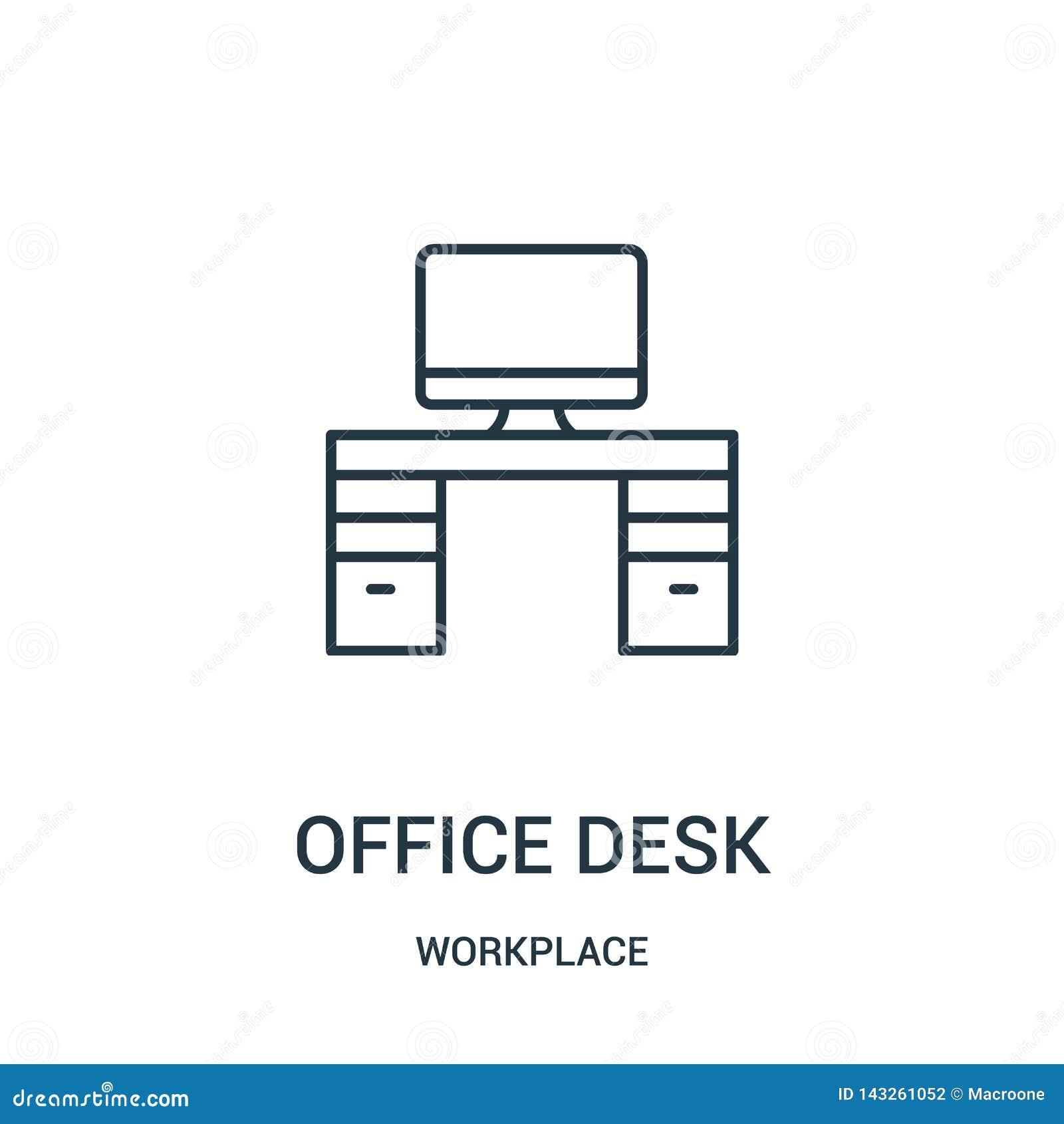 办公桌从工作场所汇集的象传染媒介 稀薄的线办公桌概述象传染媒介例证