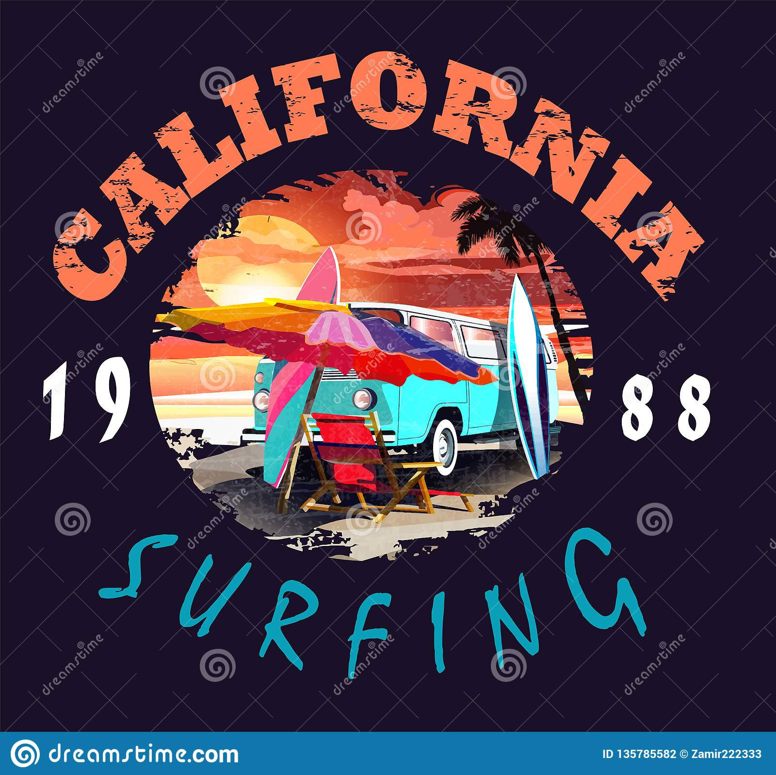 加利福尼亚传染媒介例证,为T恤杉印刷品和其他使用
