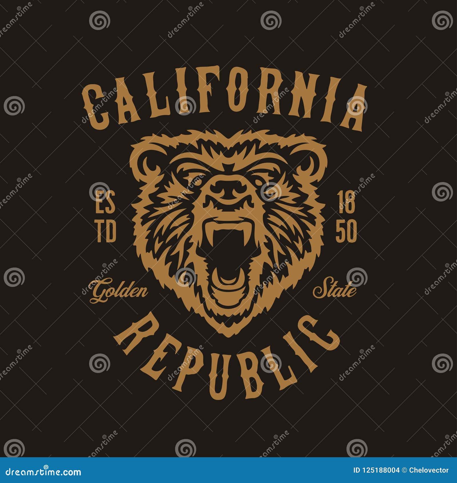 加利福尼亚共和国与北美灰熊头的T恤杉设计 传染媒介葡萄酒例证
