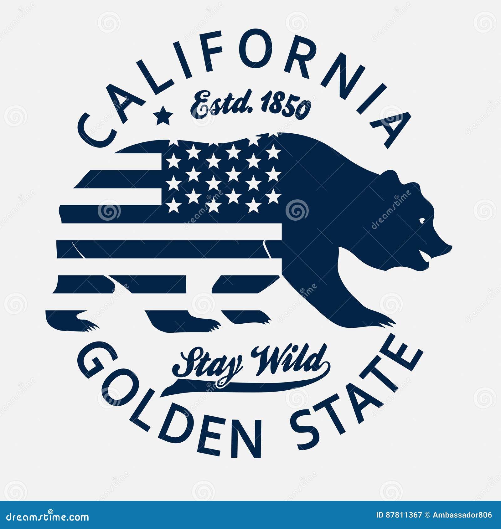 加利福尼亚印刷术印刷品,北美灰熊T恤杉 向量