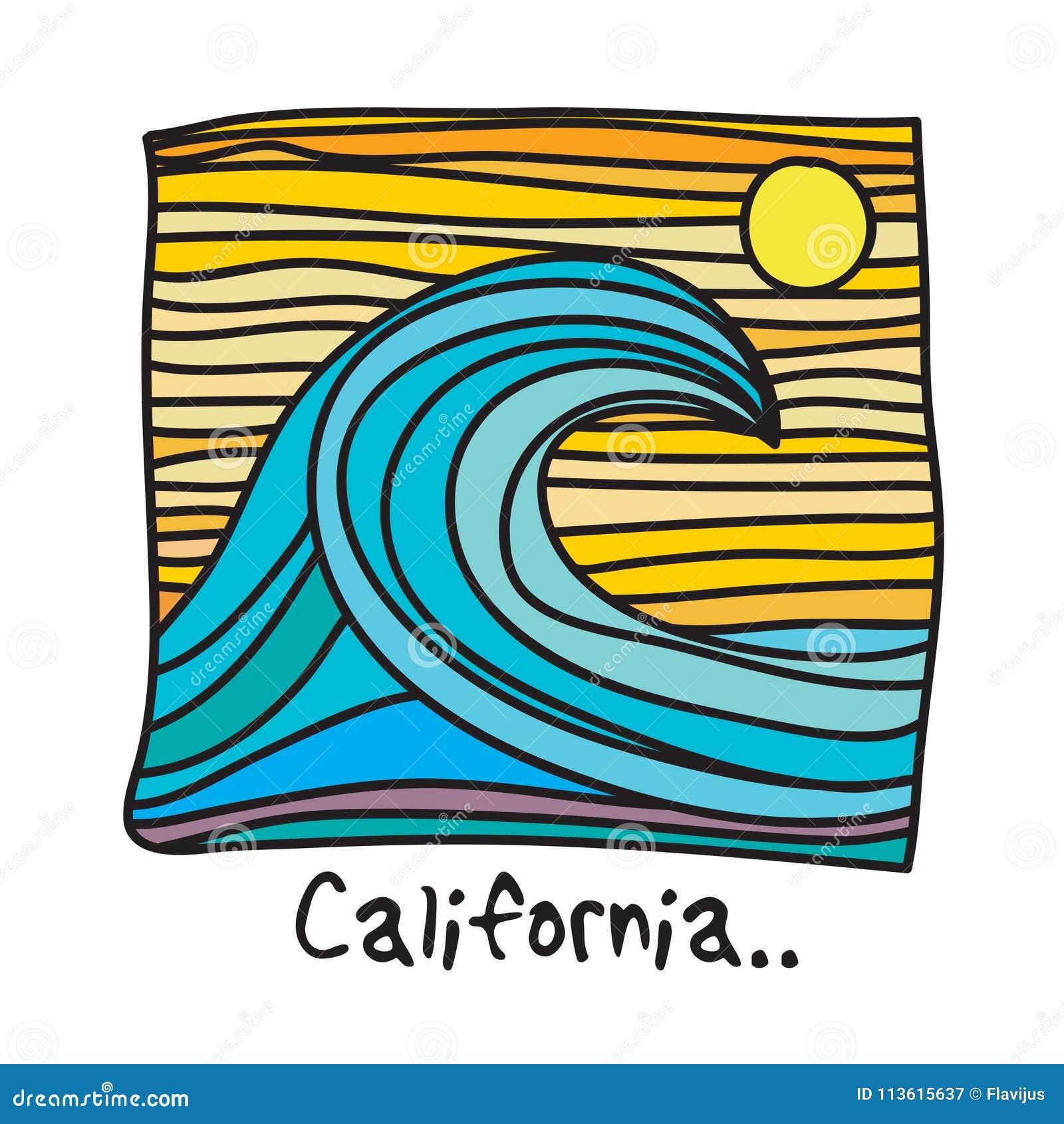 加利福尼亚海滩,冲浪者海报