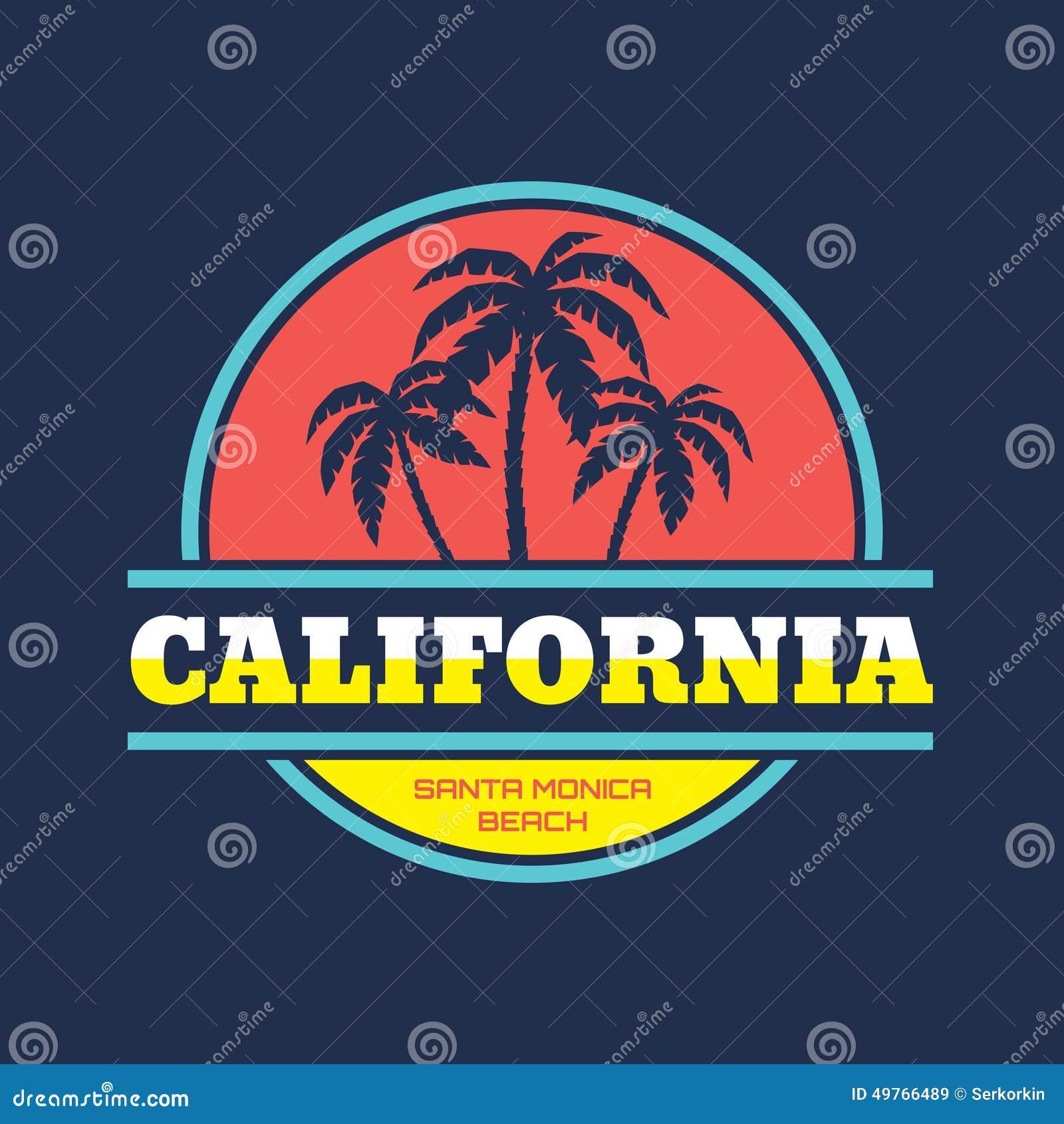 加利福尼亚-圣塔蒙尼卡海滩-传染媒介在葡萄酒图表样式的例证概念T恤杉和其他的印刷品生产