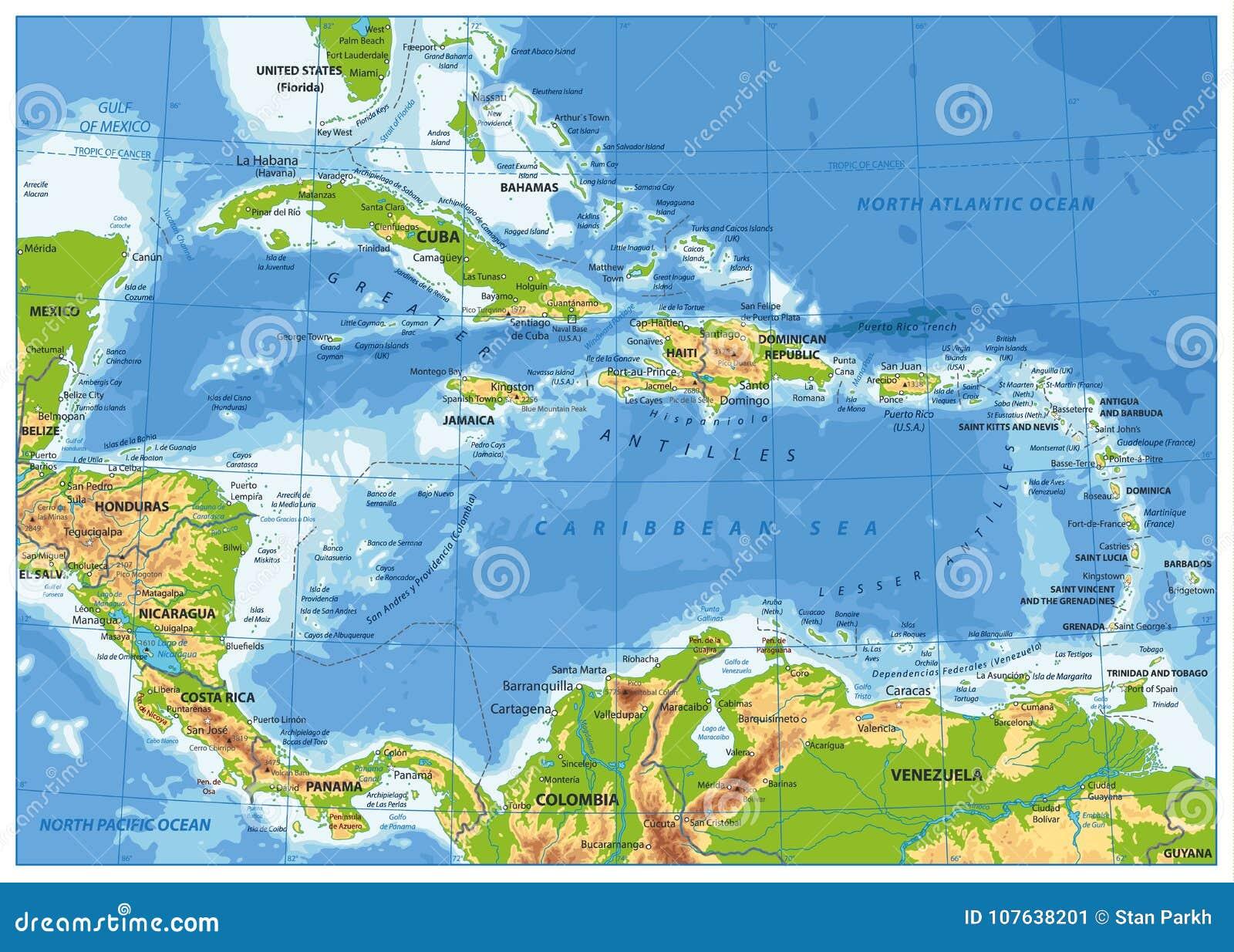 加勒比物理地图
