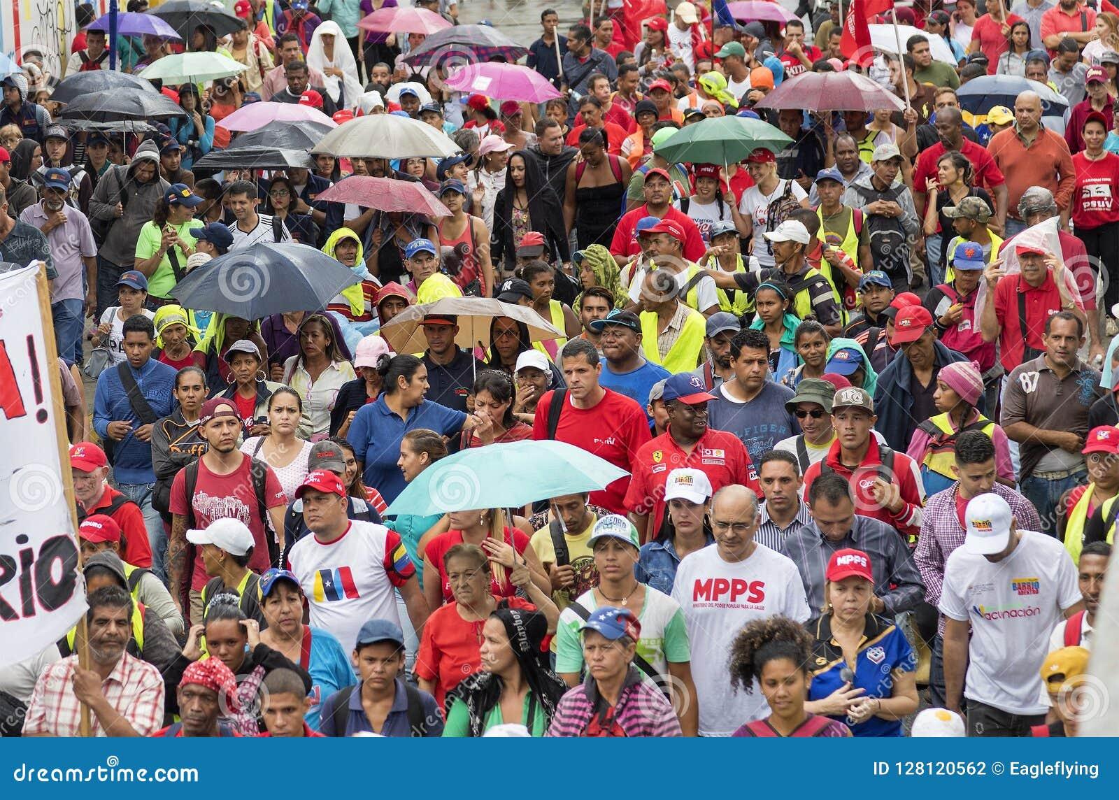 加拉加斯 支持政府新的经济措施的示威者行军