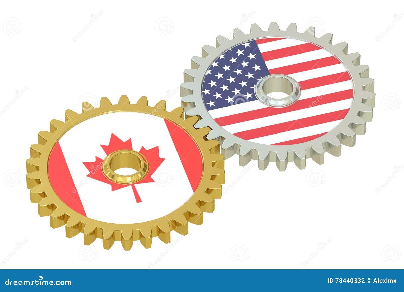 加拿大人和美国联系概念,在的旗子齿轮