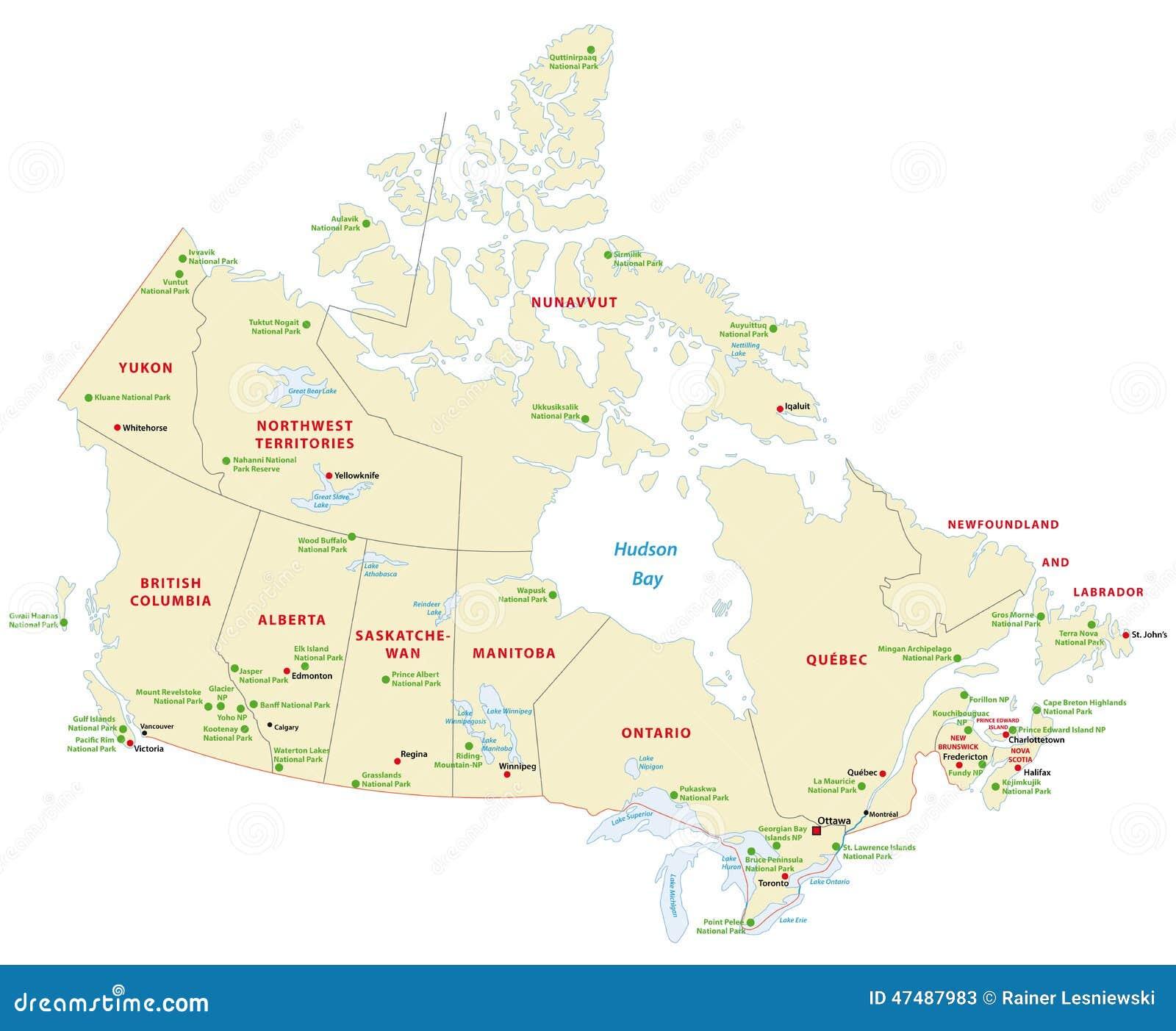 加拿大行政和国家公园地图.