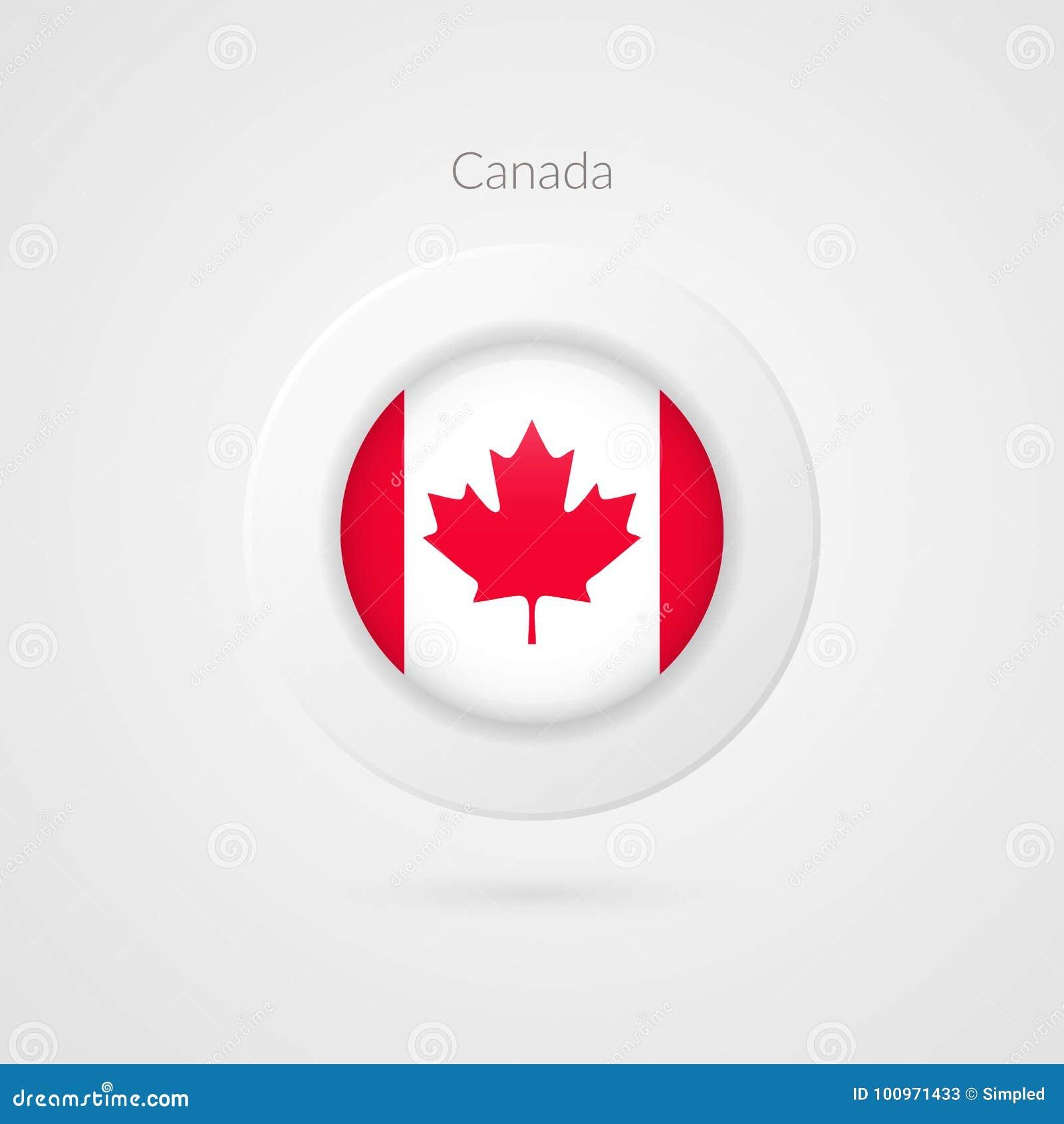 加拿大旗子传染媒介标志 被隔绝的加拿大圈子标志 北美洲例证象 查出的叶子槭树