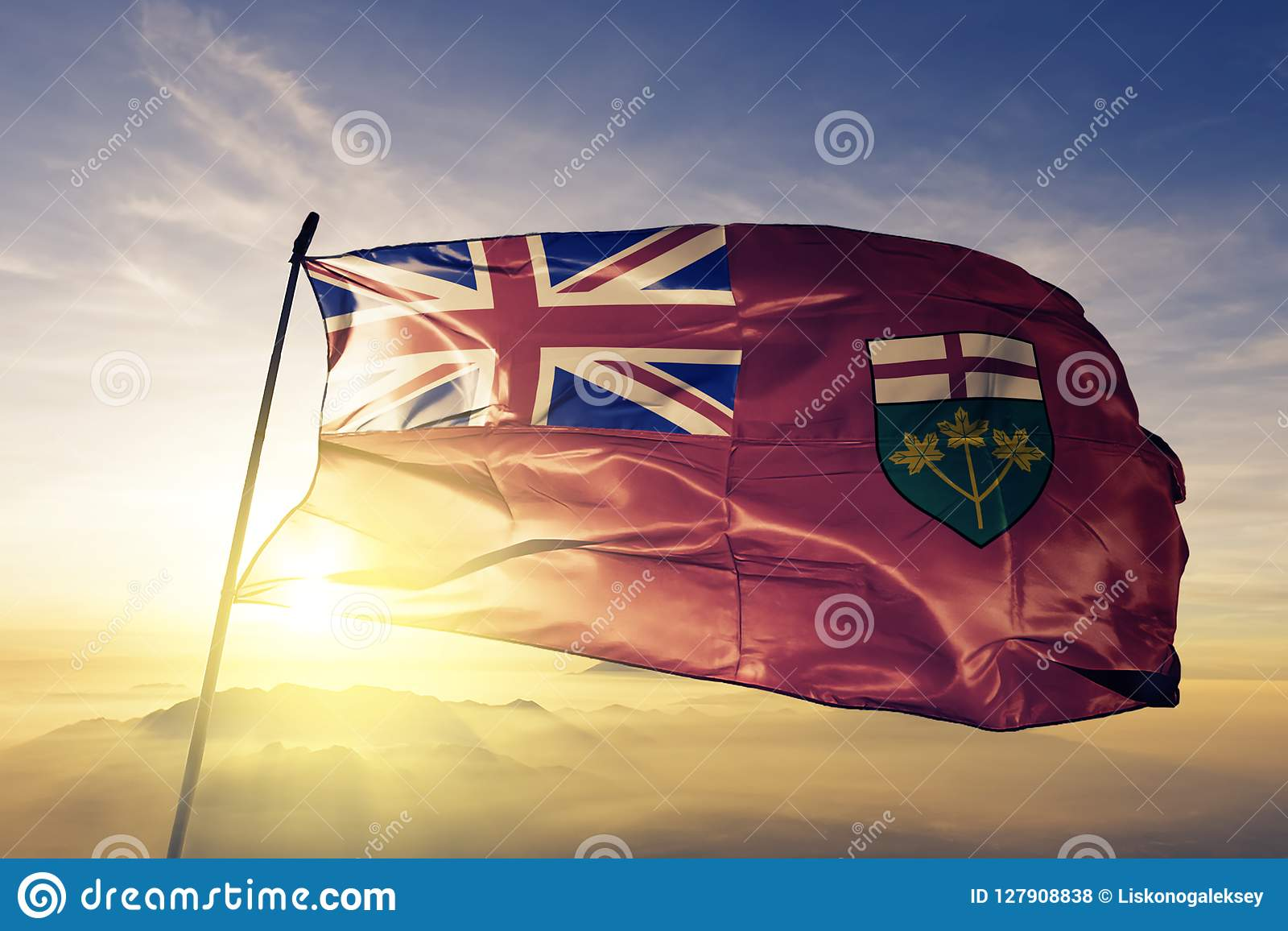 加拿大旗子纺织品挥动在顶面日出薄雾雾的布料织品安大略省