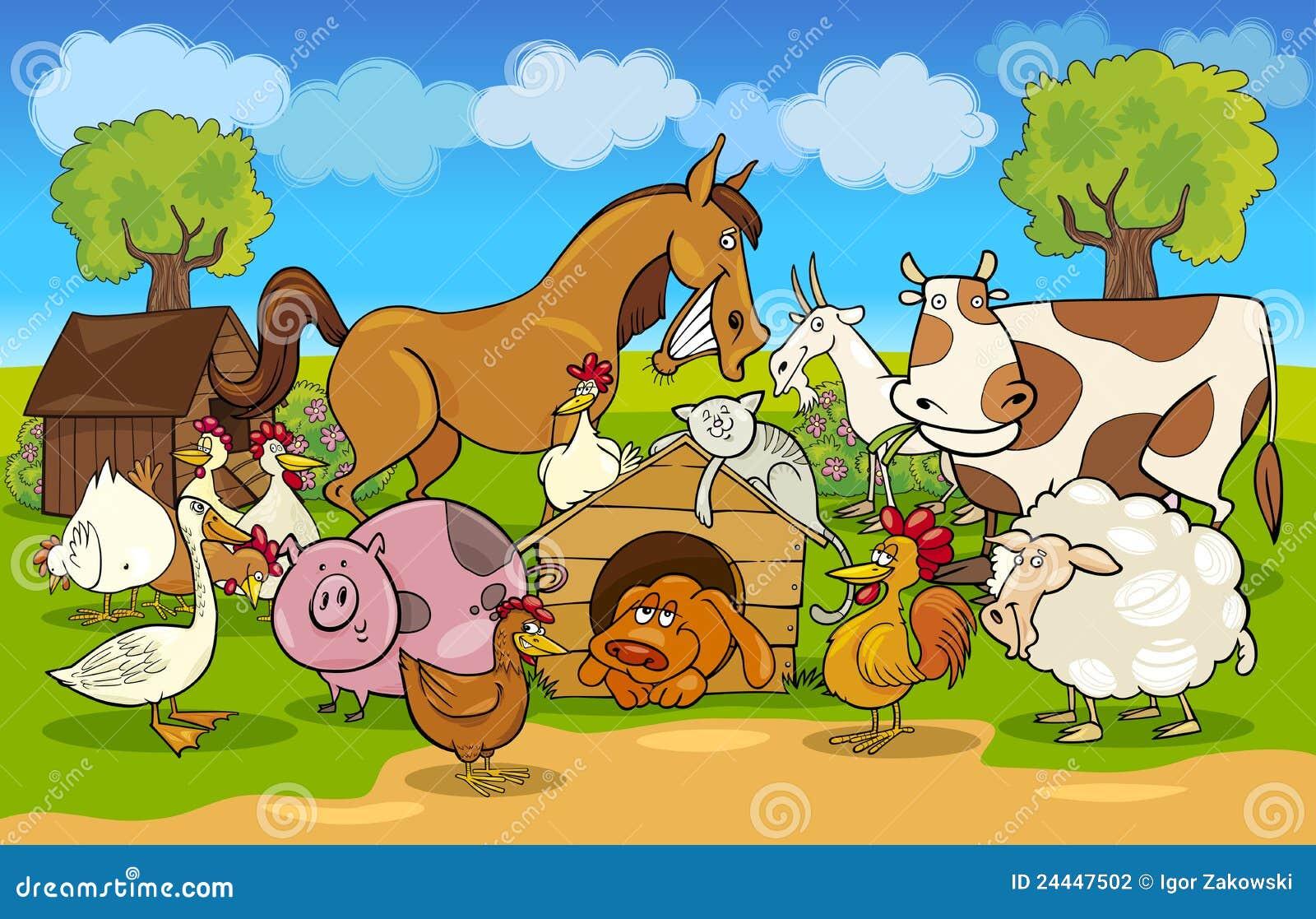 动物动画片农厂农村场面