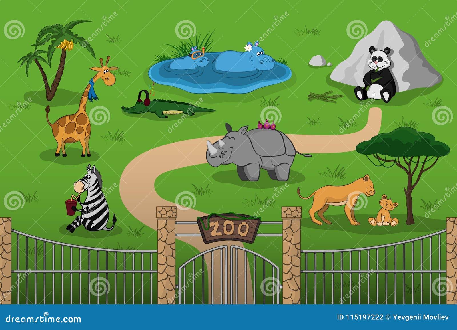 动物园动物动画片样式的 与滑稽的字符的场面 野生生物海报