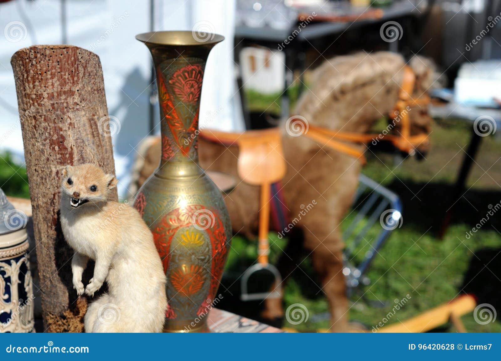 动物标本剥制术狡猾的人和花瓶 摇马在背景中 蚤3月