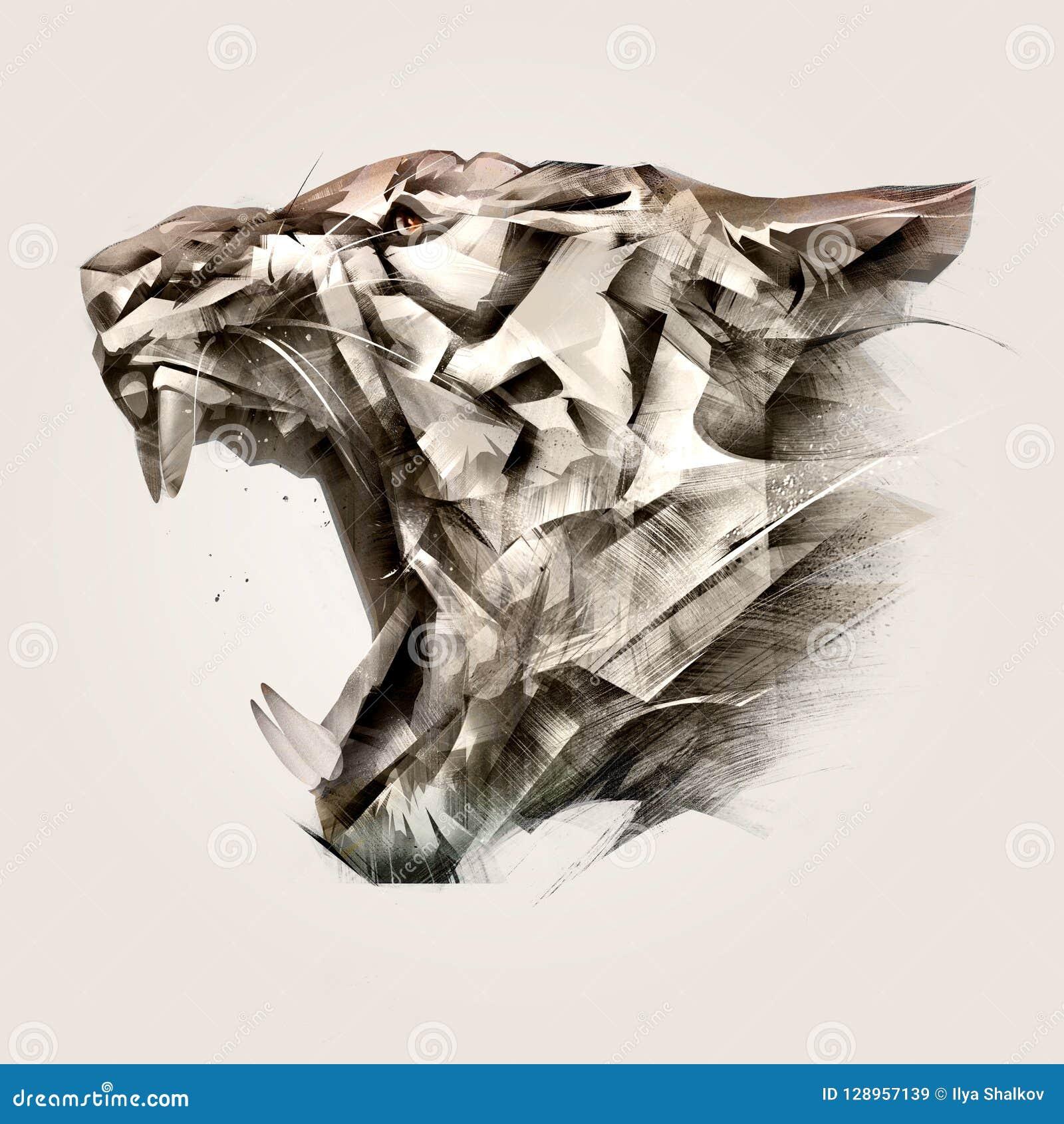 动物老虎枪口边被绘的画象