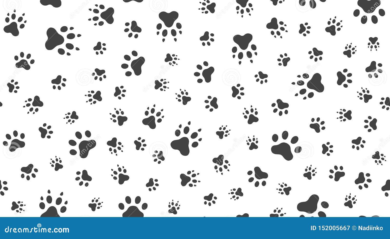 动物轨道导航与平的象的无缝的样式 黑白色宠物爪子纹理 狗,猫脚印背景