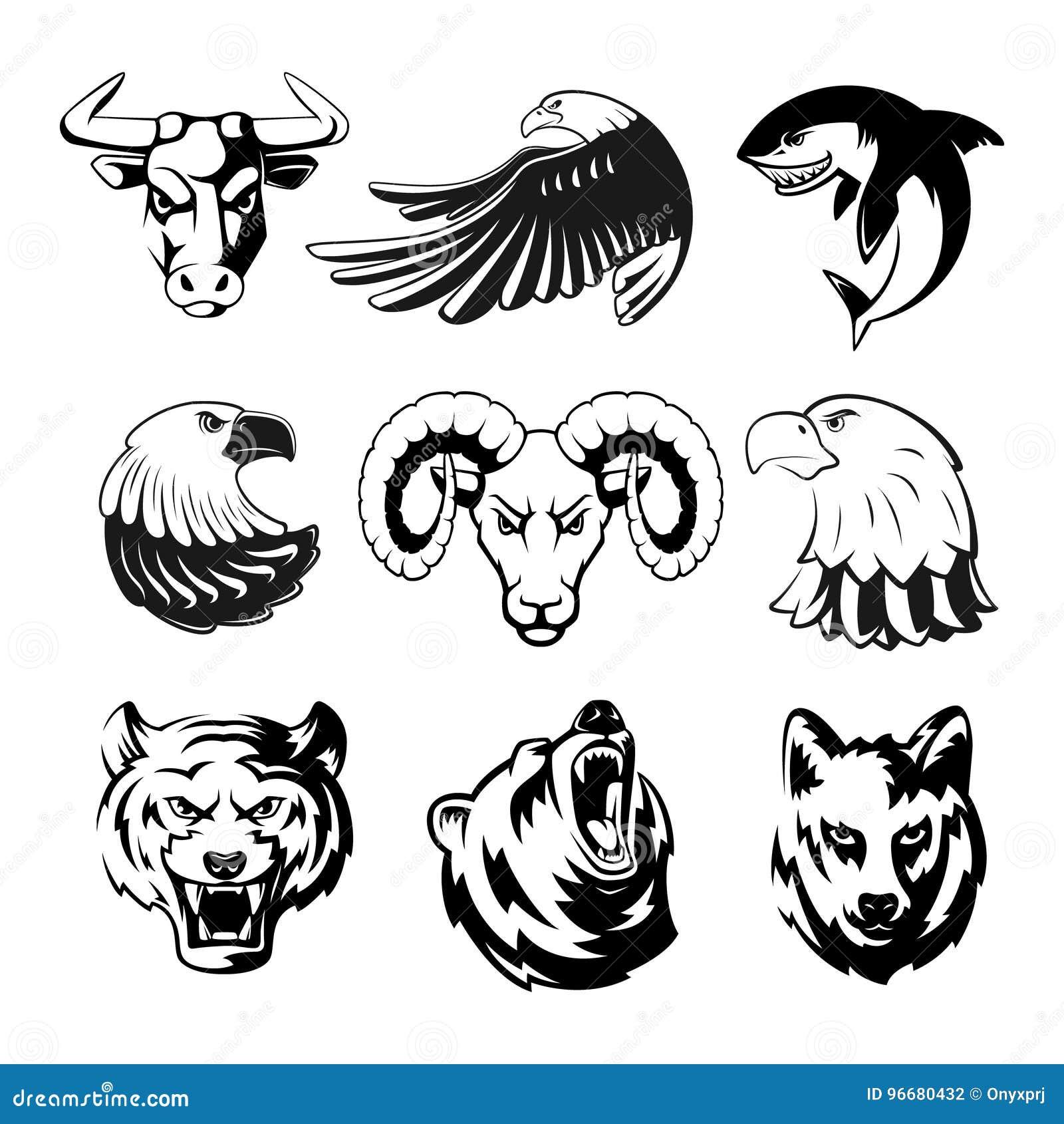 动物头商标或体育标志的 北美灰熊、熊和老鹰 标签的单色吉祥人例证 狼