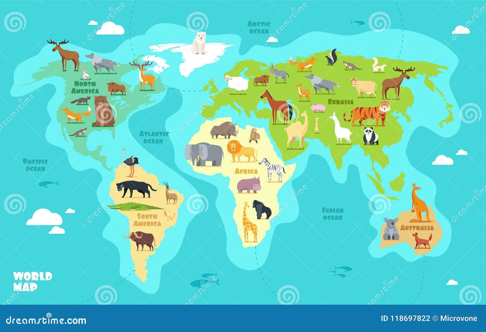 动画片与动物、海洋和大陆的世界地图 孩子教育传染媒介例证的滑稽的地理