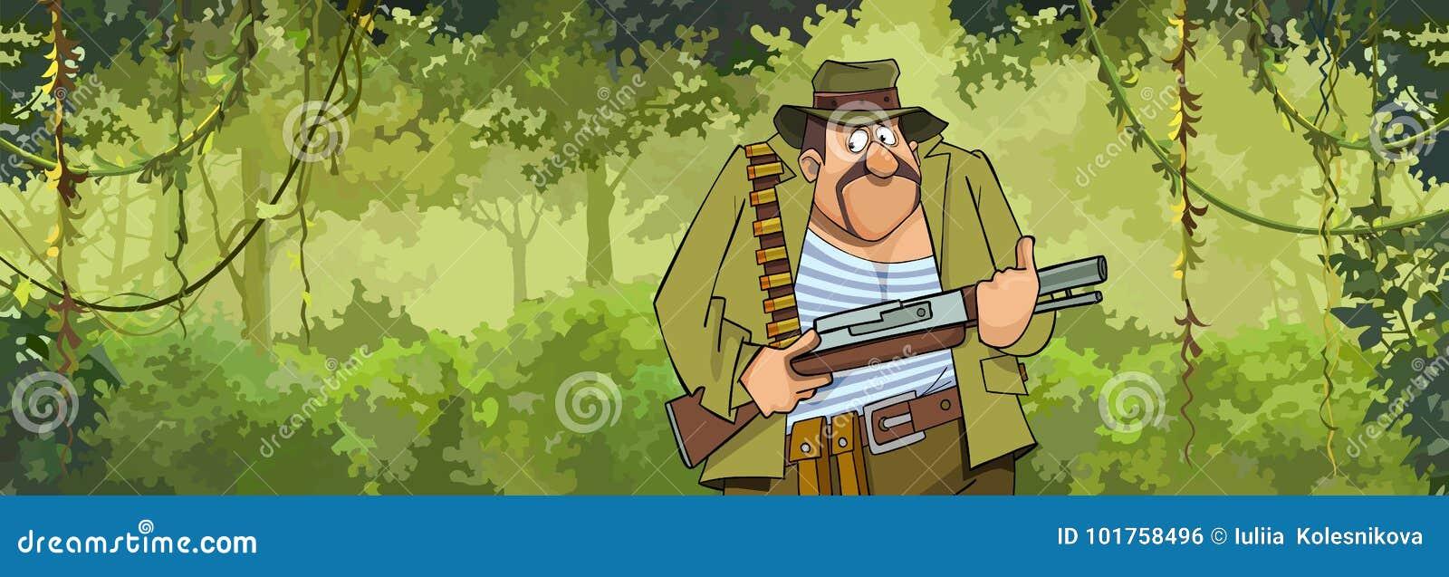 动画片与枪的人猎人走通过森林的