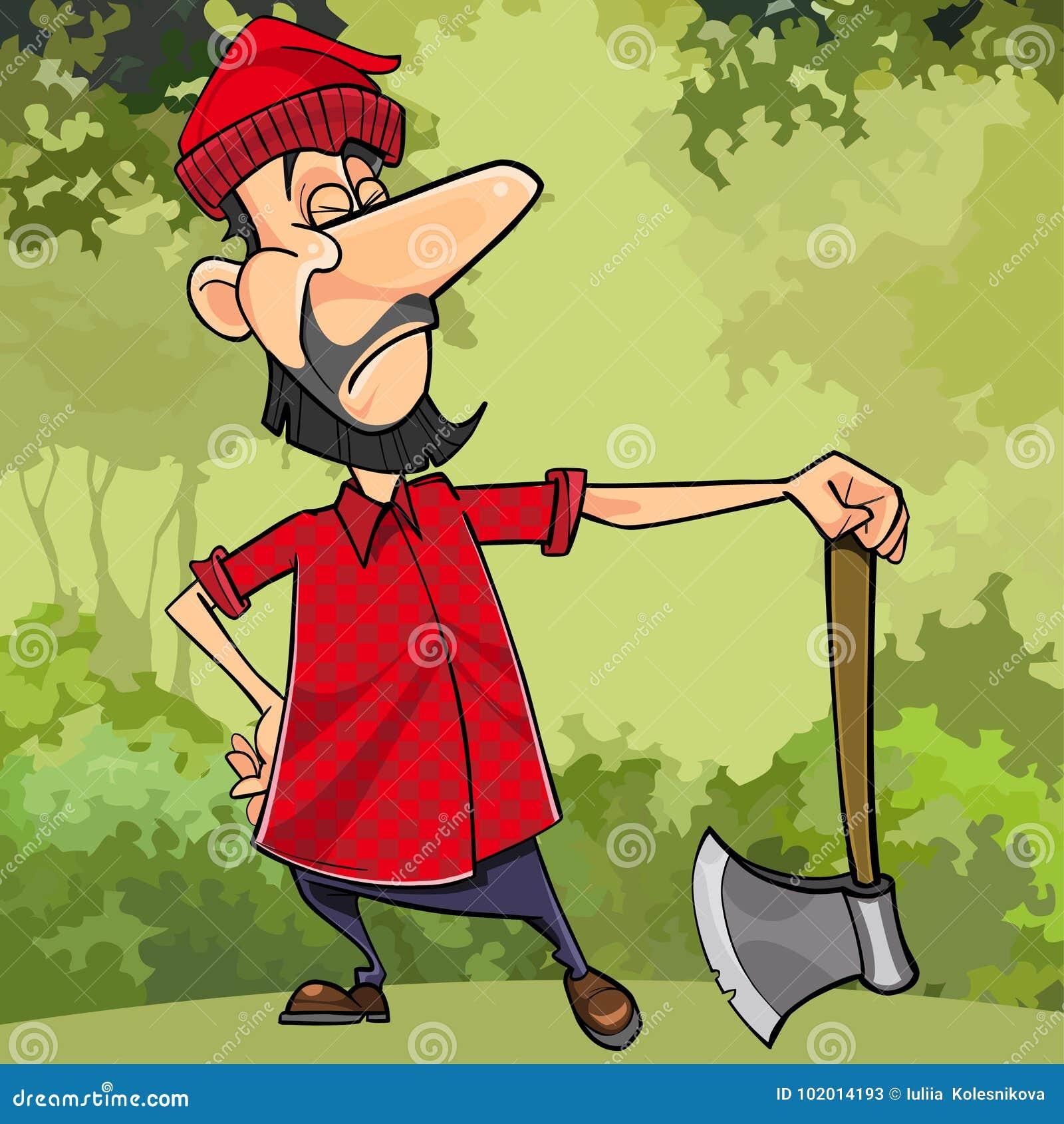 动画片严肃的伐木工人在有轴的森林里