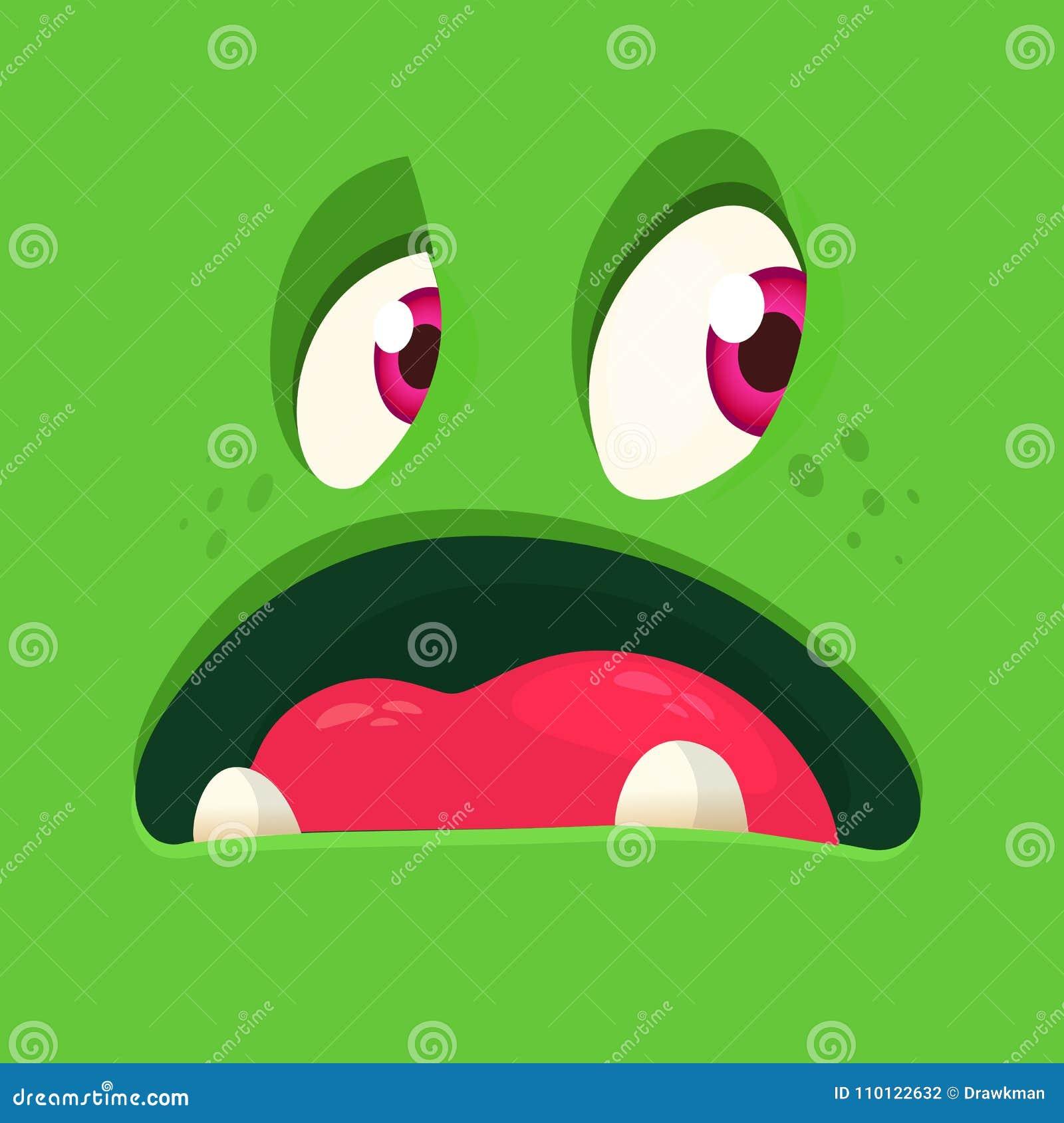 动画片可怕妖怪面孔 传染媒介万圣夜绿色蛇神妖怪具体化正方形 设计耳朵面粉例证标签通心面程序包意大利面食意粉向量麦子