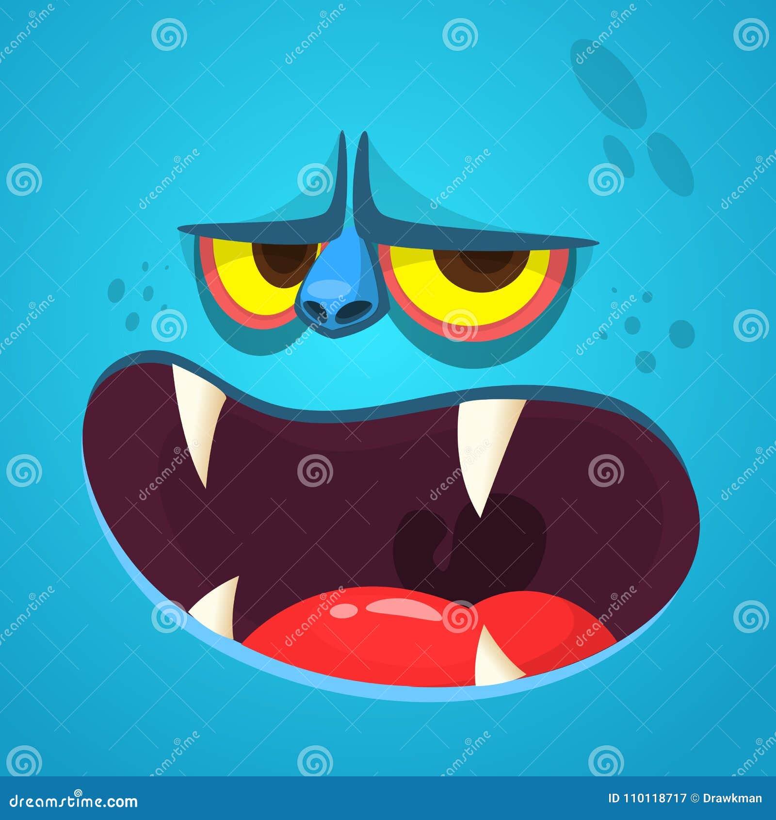 动画片妖怪面孔 导航有开放嘴的万圣夜蓝色妖怪具体化与锋利的牙齿
