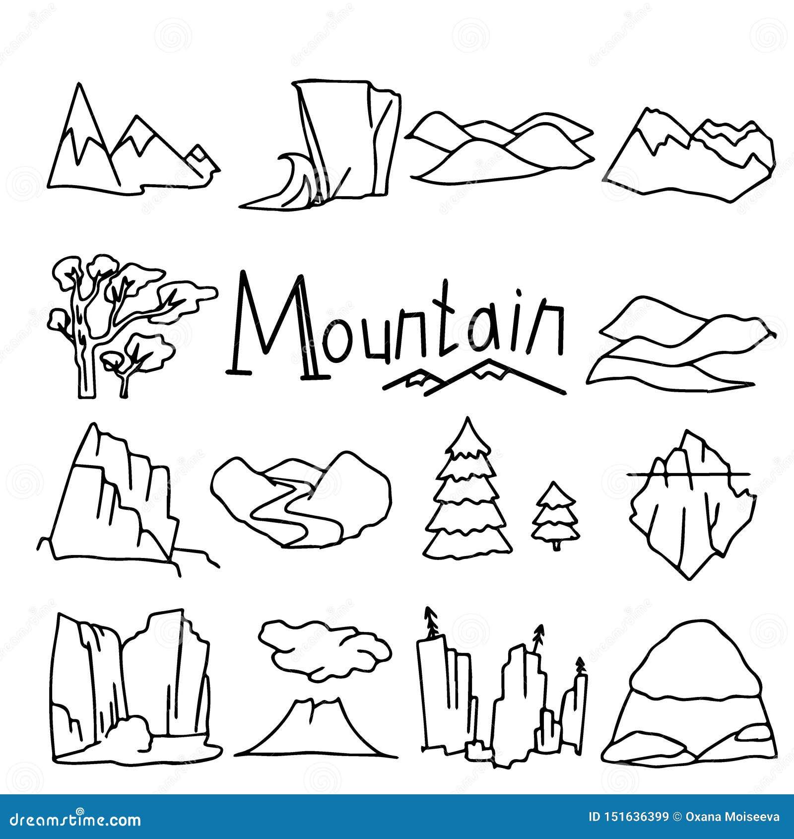 动画片山风景设置与沙漠小山