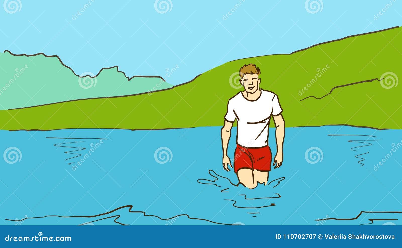 动画片年轻人从在露天的水出来