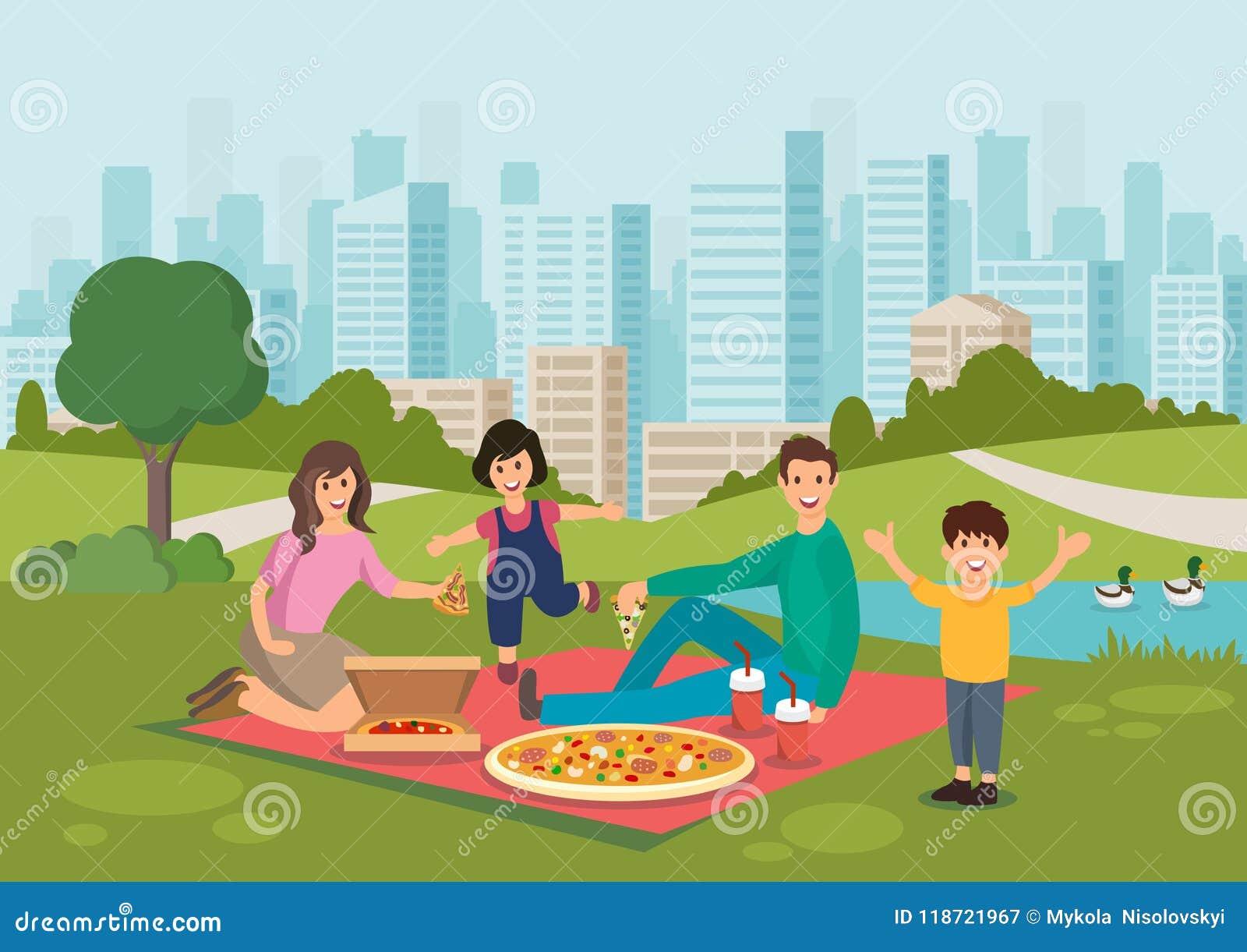 动画片愉快的家庭在公园吃在野餐的薄饼