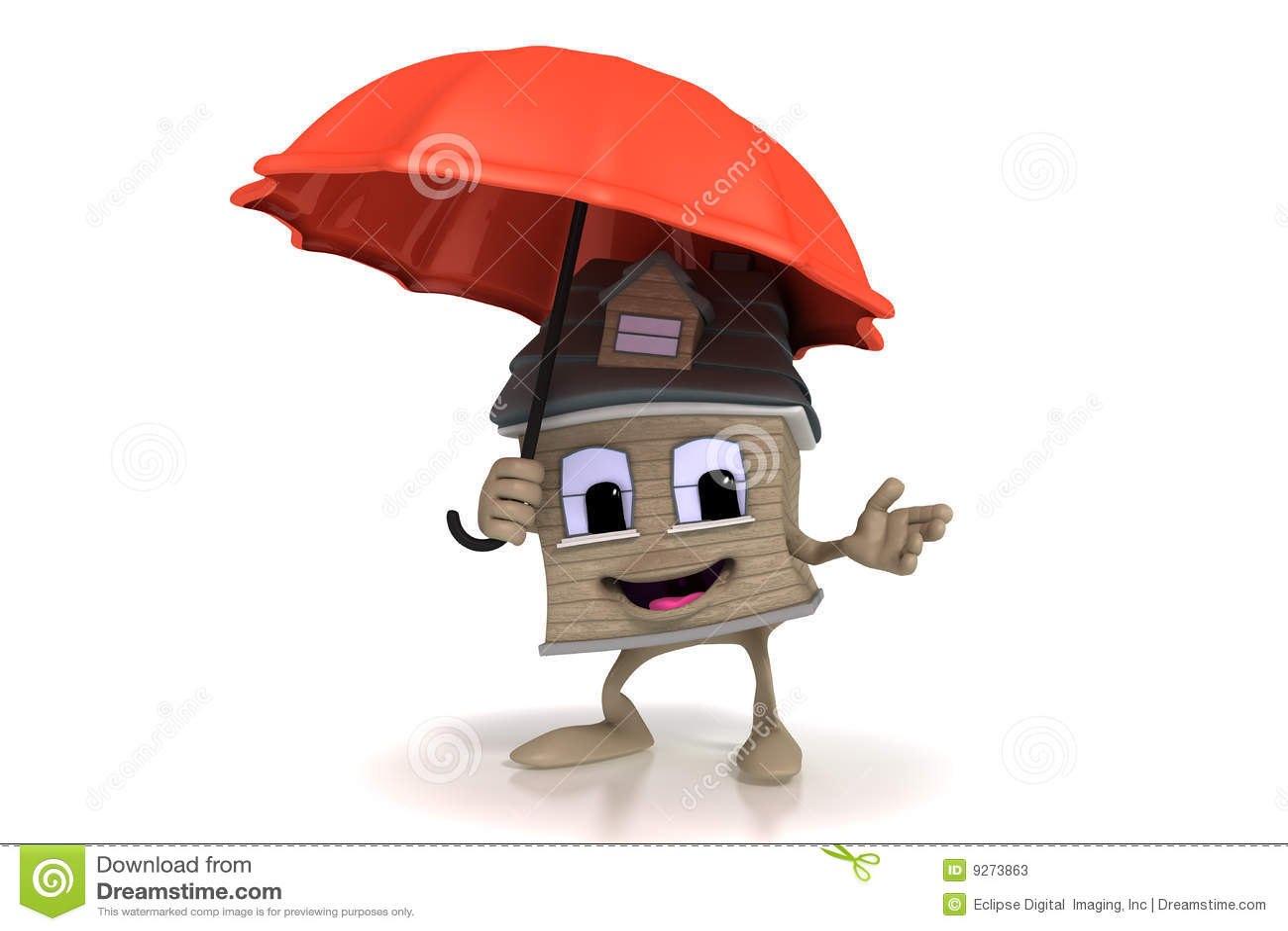 动画片愉快的藏品房子伞图片
