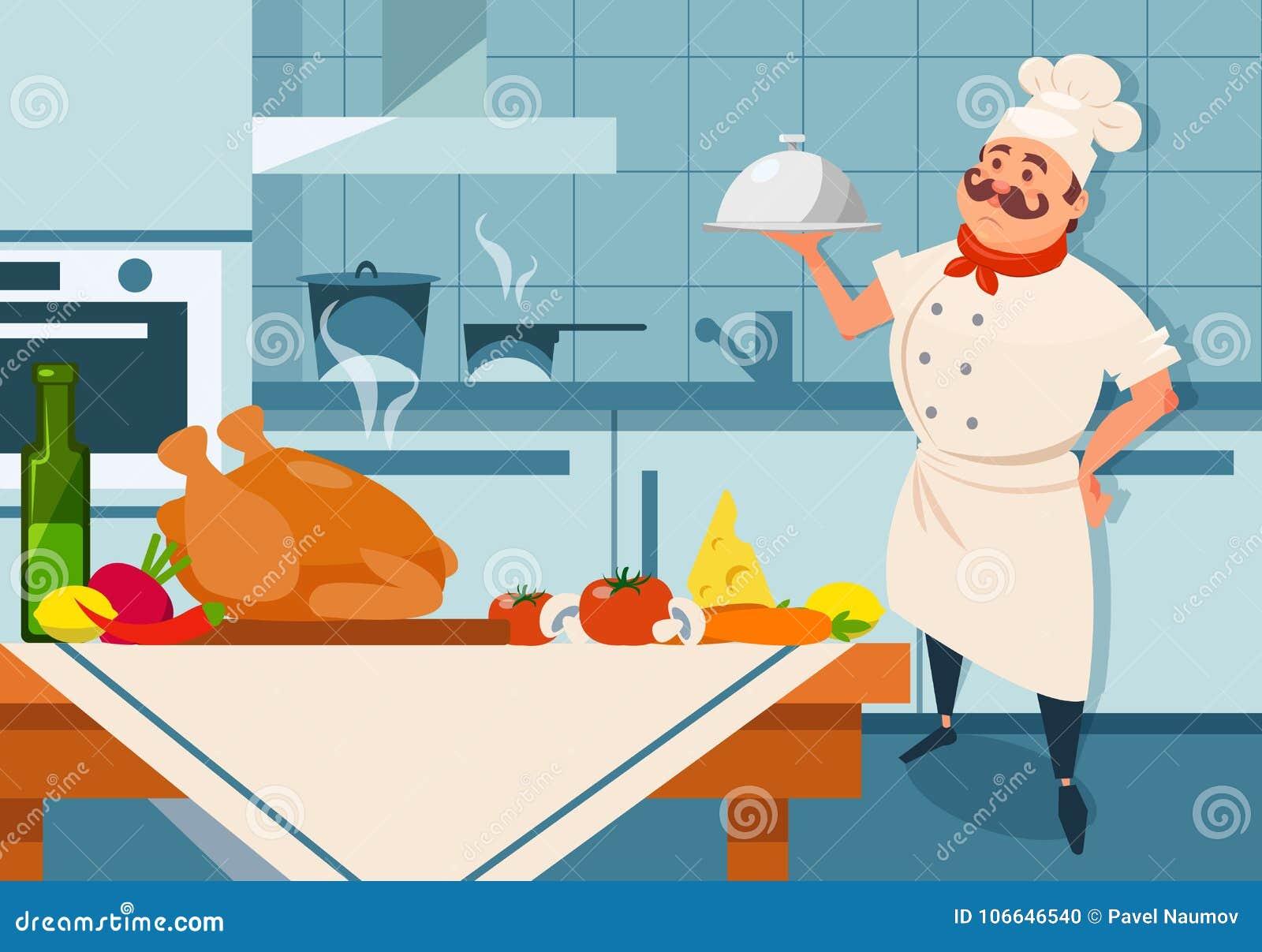 动画片拿着银色盘的厨师字符手中 餐馆s与家具和器物的厨房内部 新鲜