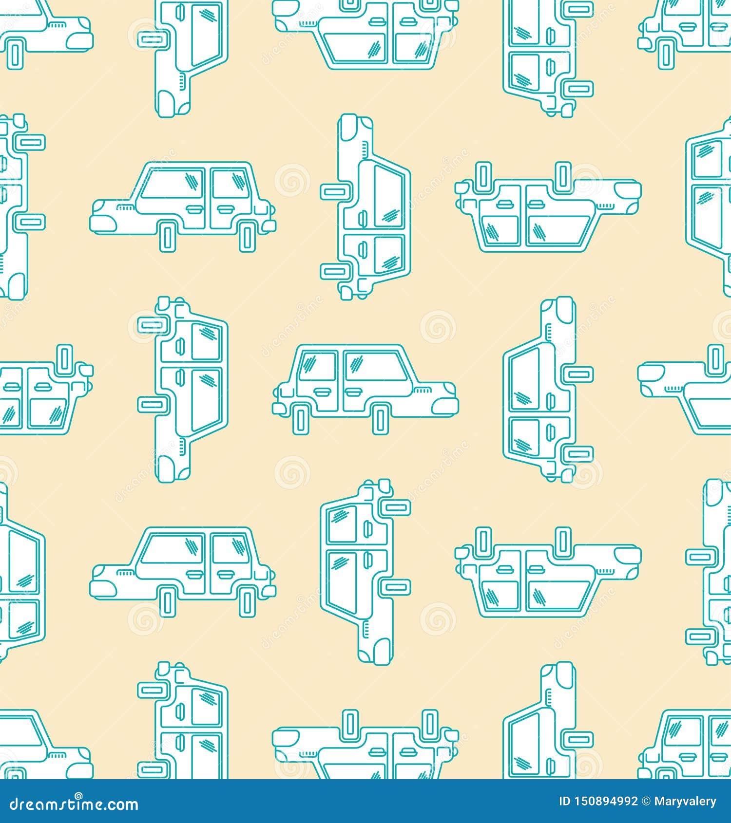 动画片无缝汽车的样式 机器儿童的样式背景