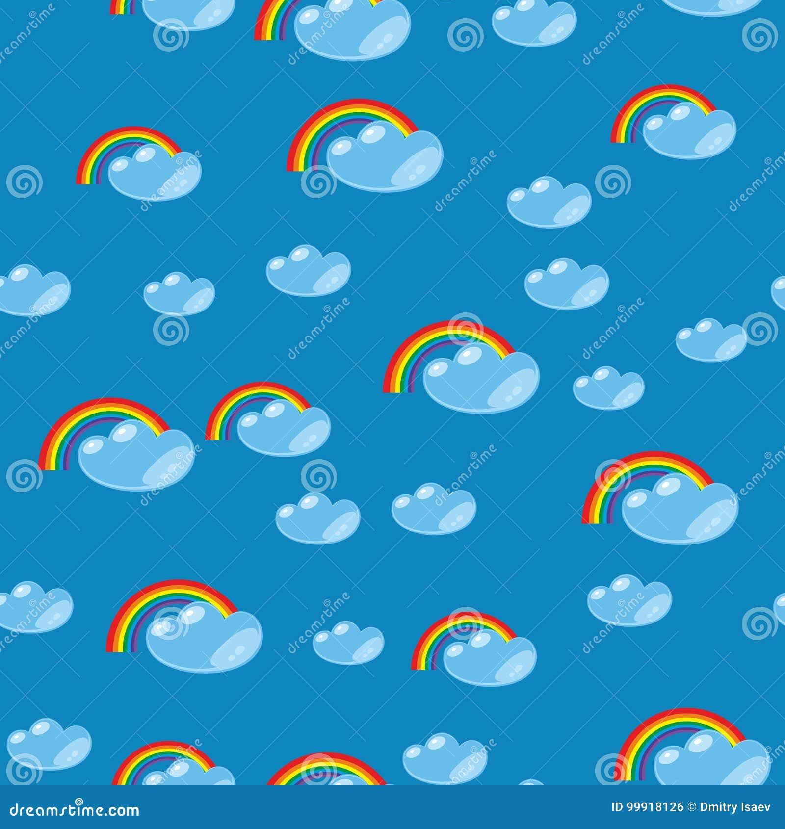 动画片无缝的彩虹和云彩纹理635