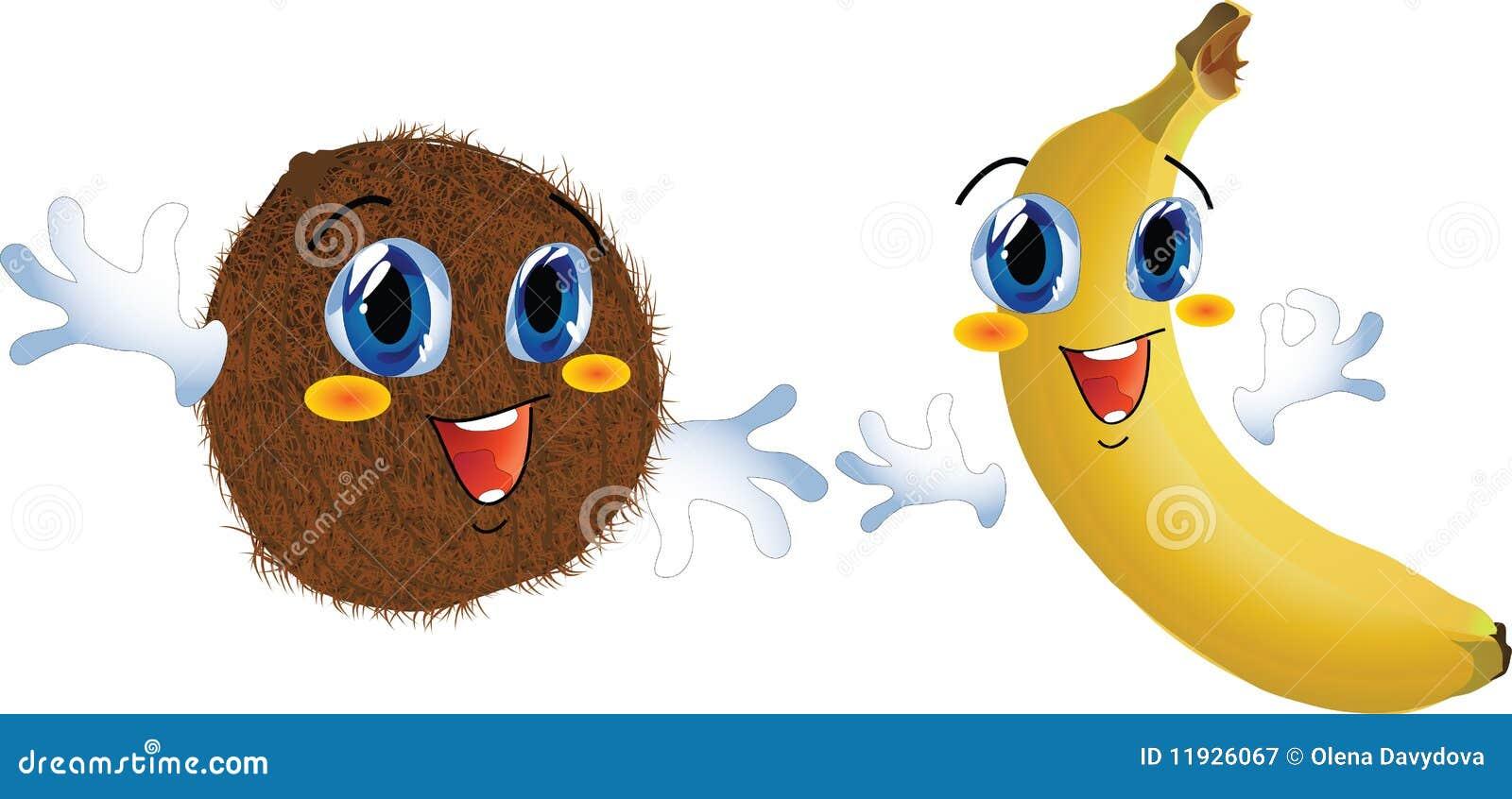 香蕉动画片椰子例证向量.图片