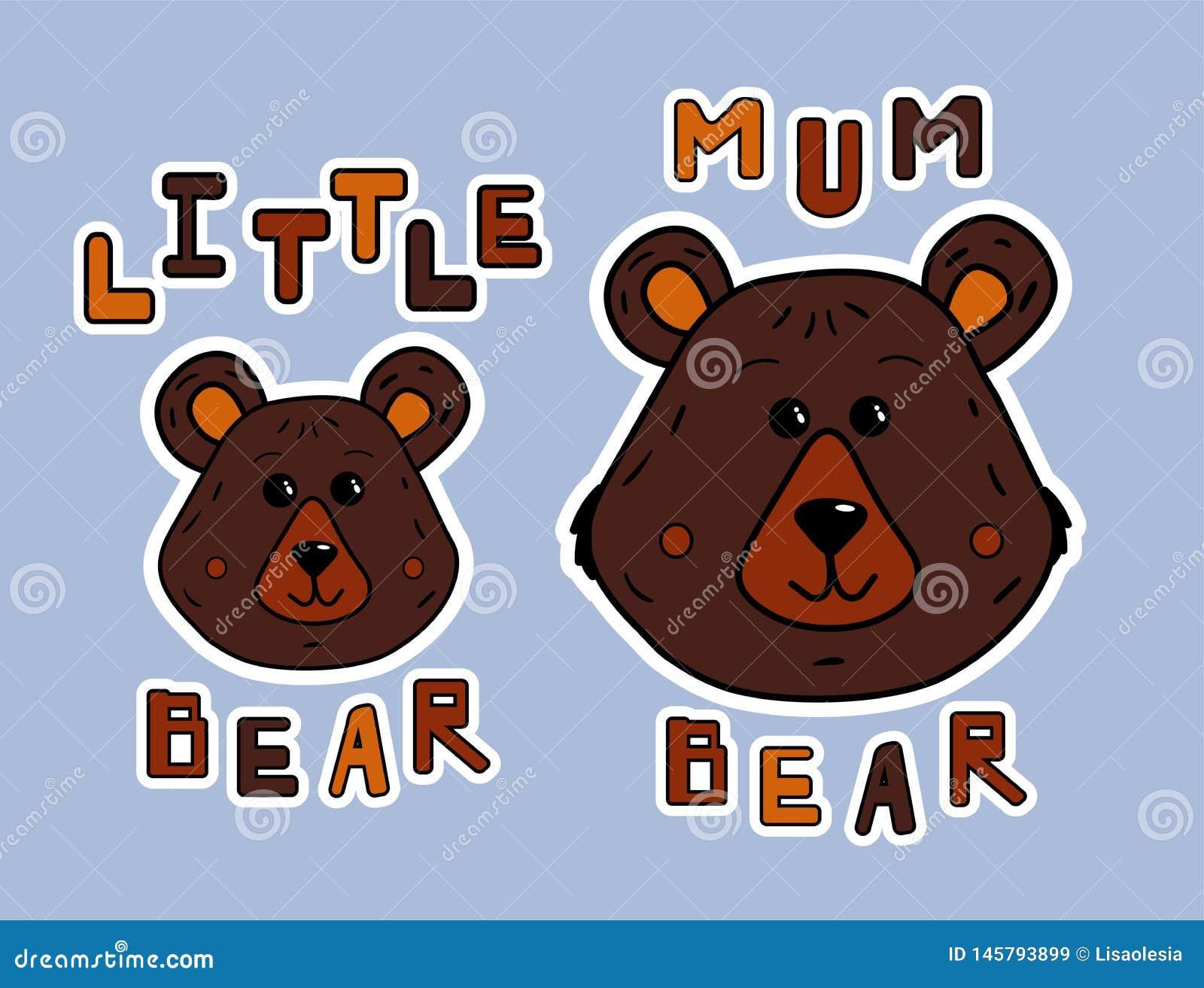 动画片母亲熊和小的熊 贴纸或印刷品蠢人衬衣 逗人喜爱的动物和funy字法 传染媒介例证为