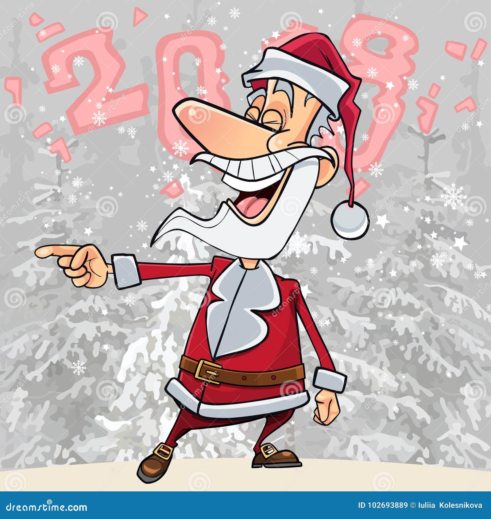 动画片滑稽的圣诞老人在森林里2018年笑指向他的手指