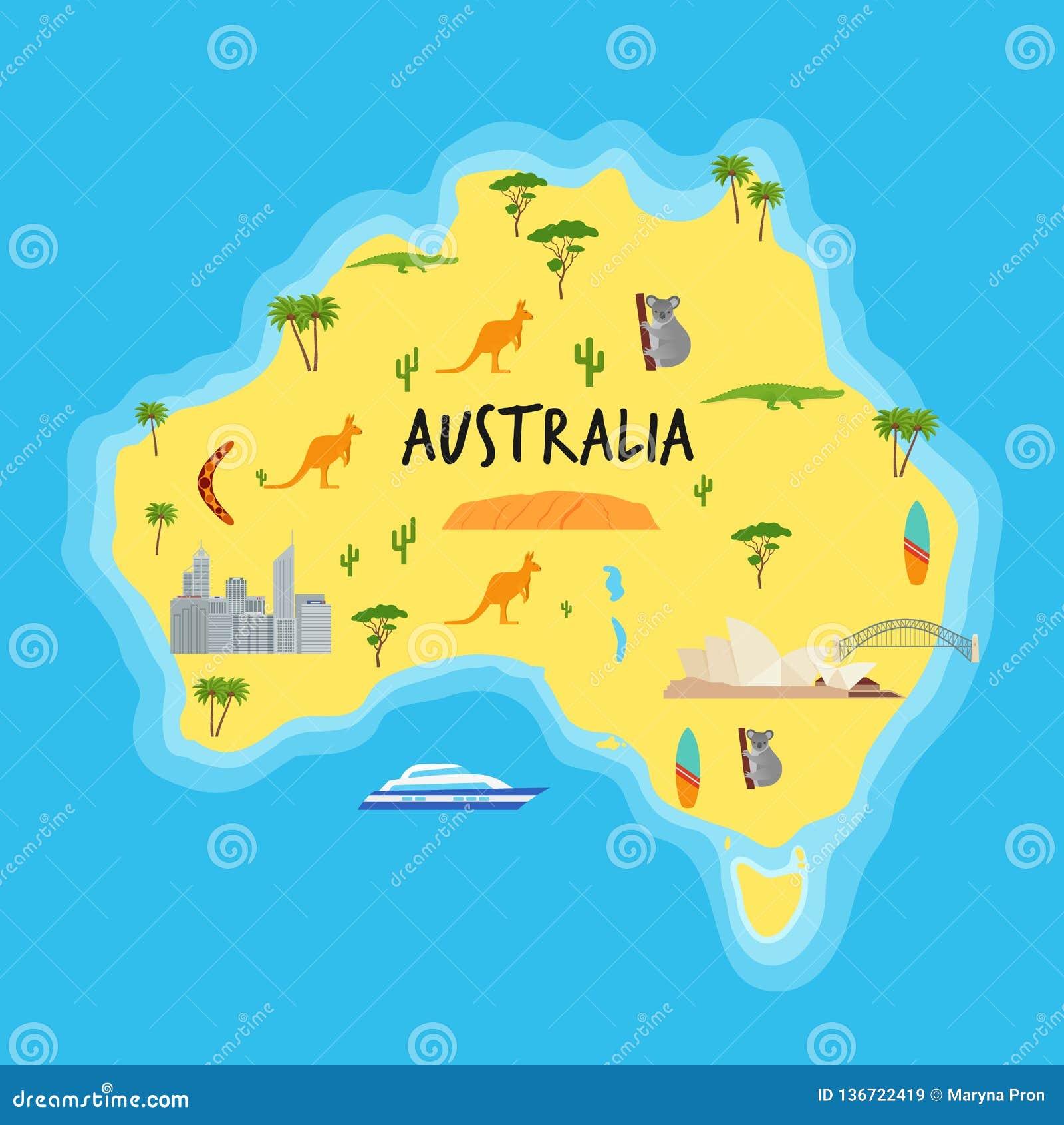 动画片澳大利亚地图 也corel凹道例证向量 与象的澳大利亚国家
