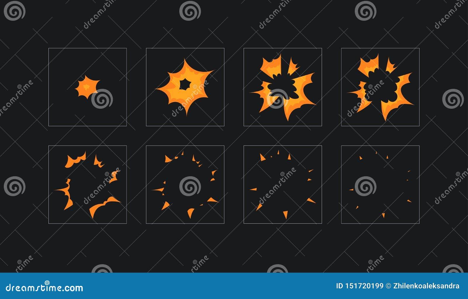 动画片火爆炸的,流动,一刹那比赛作用动画魍魉板料 在黑暗的背景的8个框架