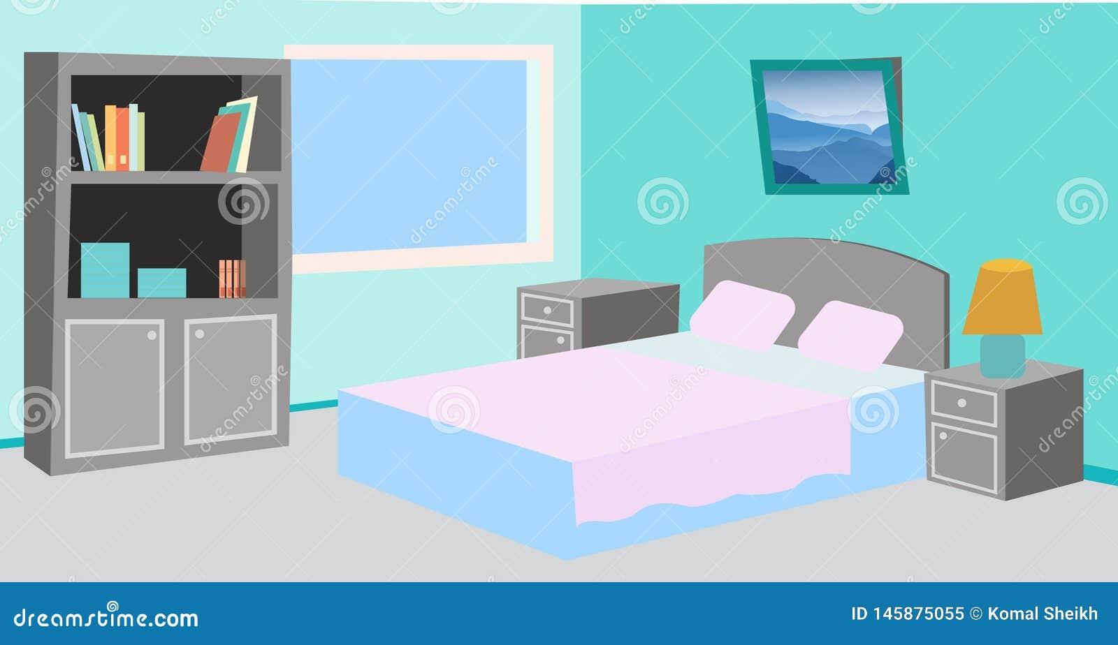 动画片简单的干净的卧室例证