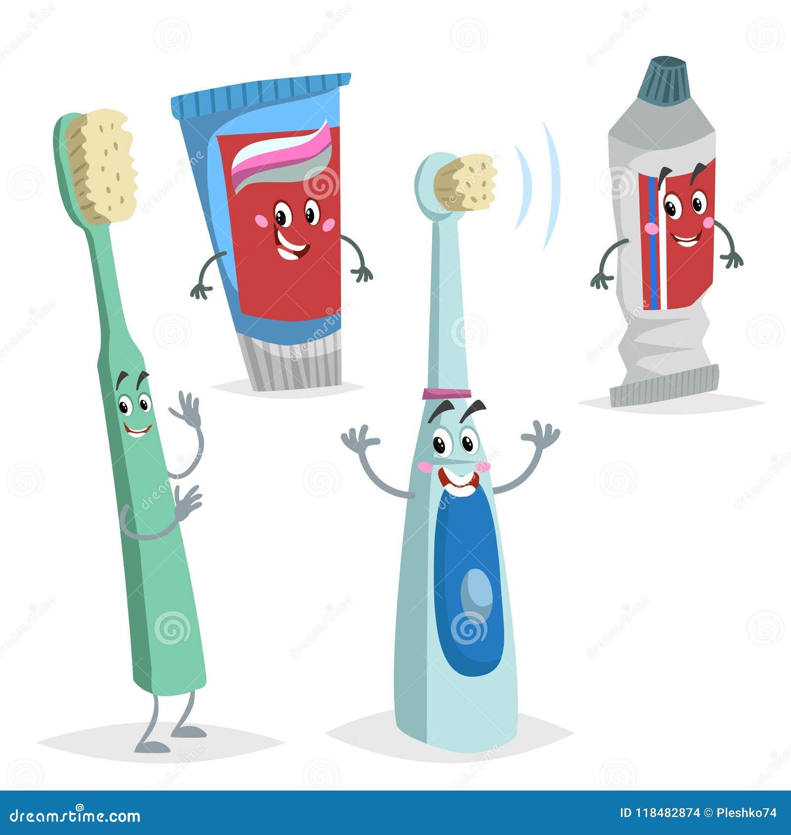 动画片被设置的牙齿保护字符 可笑的牙刷,超声波电刷子,牙膏管 医学和医疗保健educa