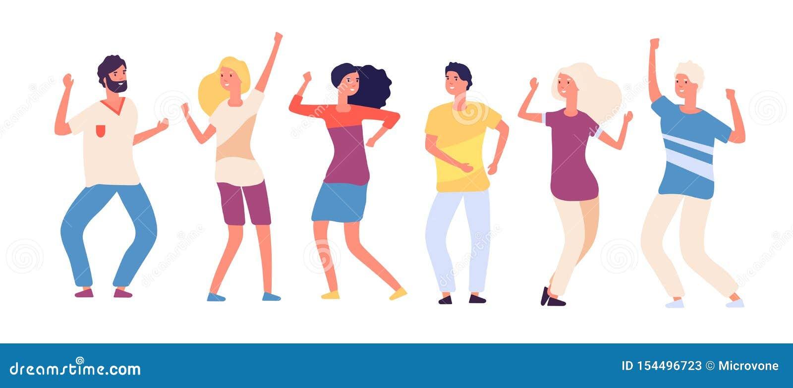 动画片跳舞的人民 愉快的年轻人跳舞,快乐的妇女和人舞蹈家 在被隔绝的俱乐部的党人群
