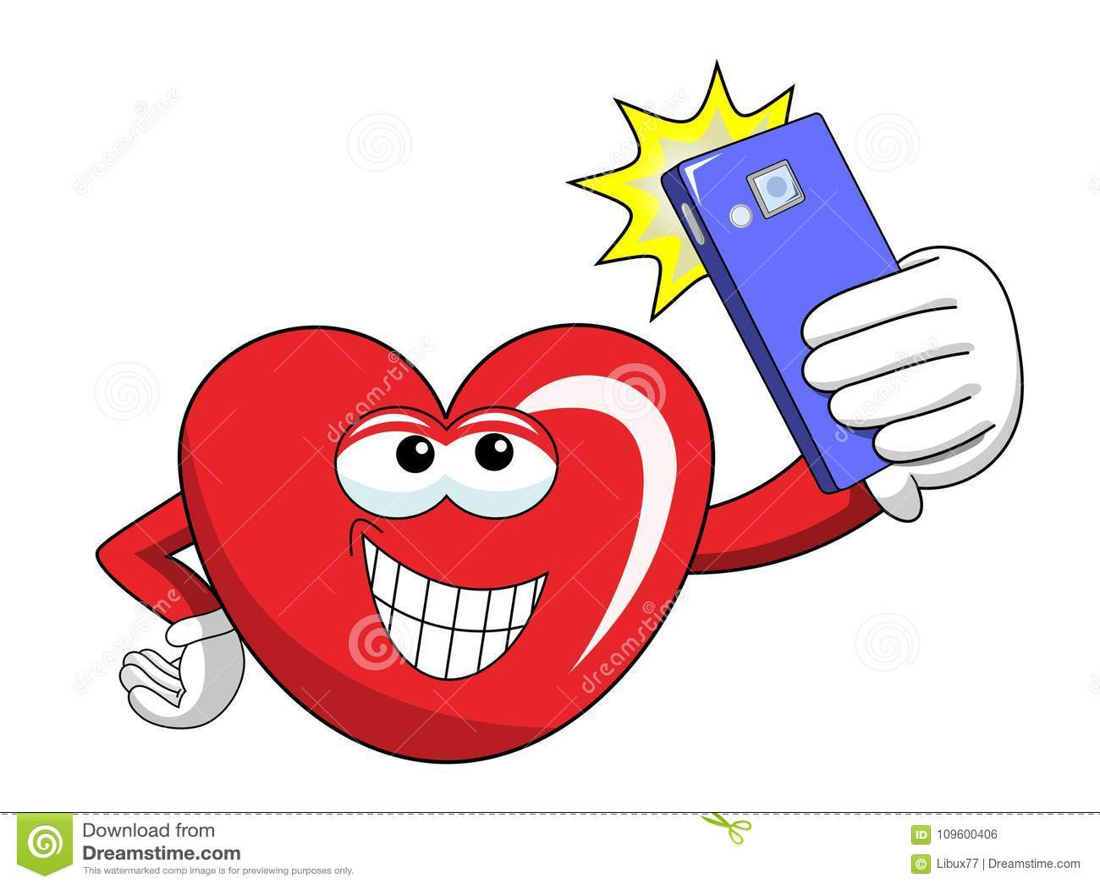 动画片采取selfie智能手机的吉祥人心脏被隔绝