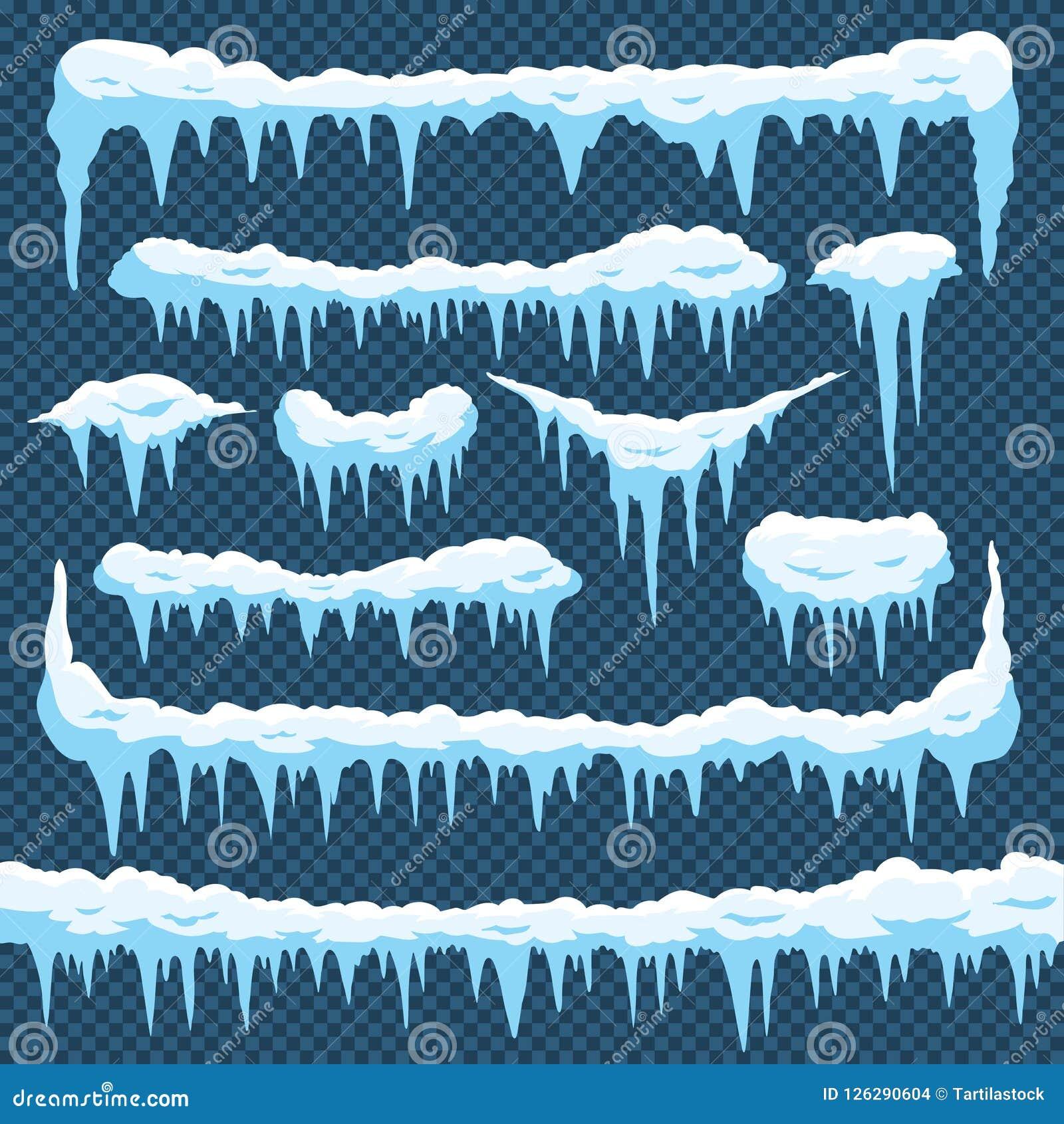 动画片雪冰柱 与snowcap的冰柱冰在上面 圣诞卡设计的冬天降雪的边界 弗罗斯特框架