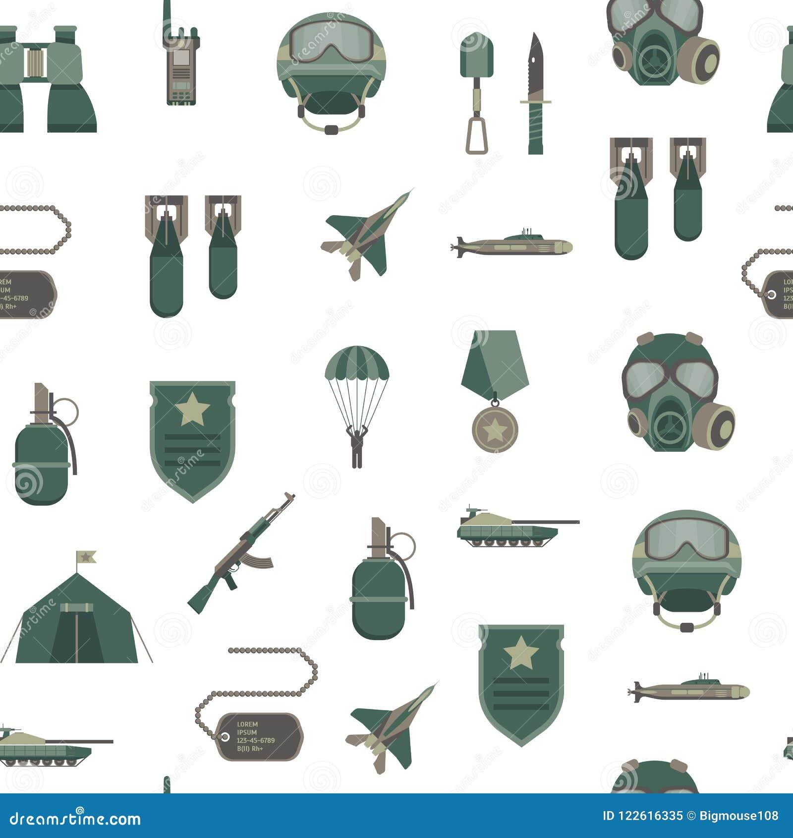 动画片颜色军队武器无缝的样式背景 向量