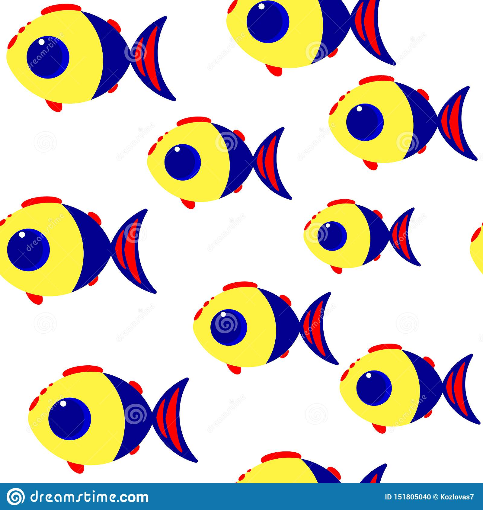 动画片鱼无缝的传染媒介样式