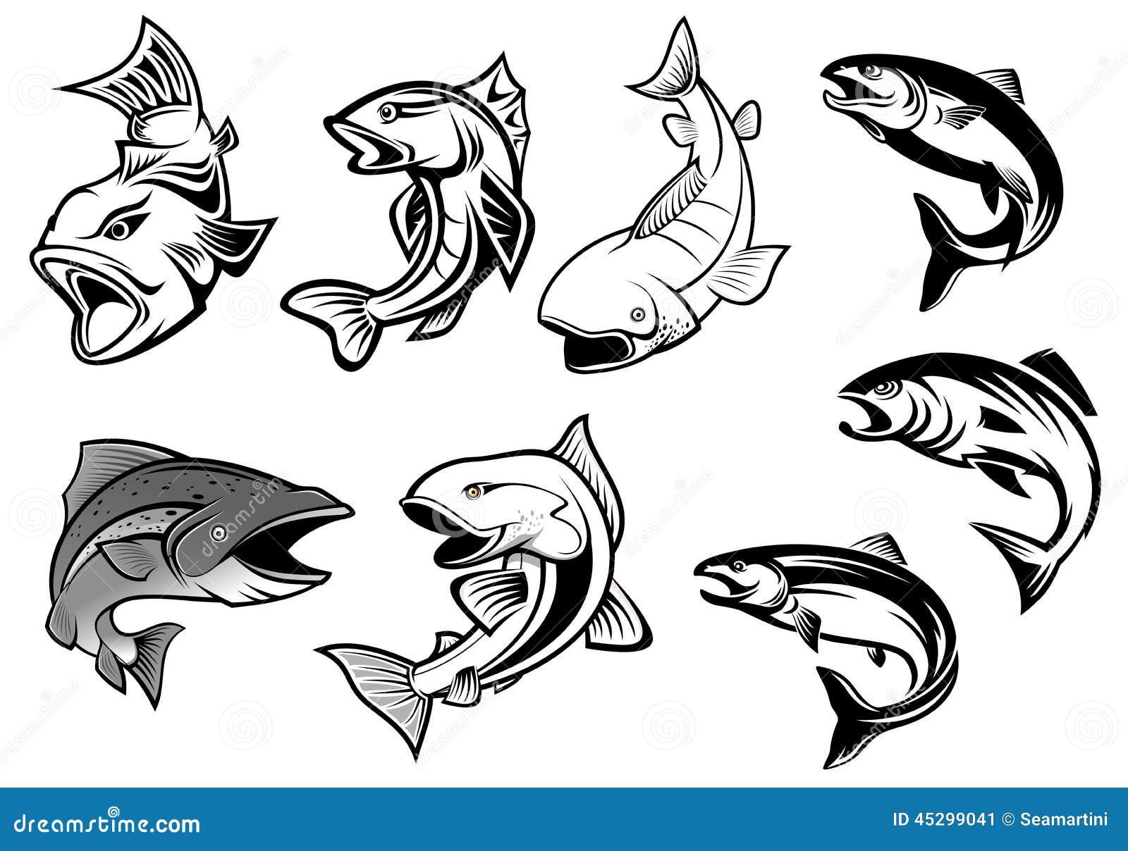 动画片三文鱼钓鱼钓鱼的体育或海鲜设计集合.图片