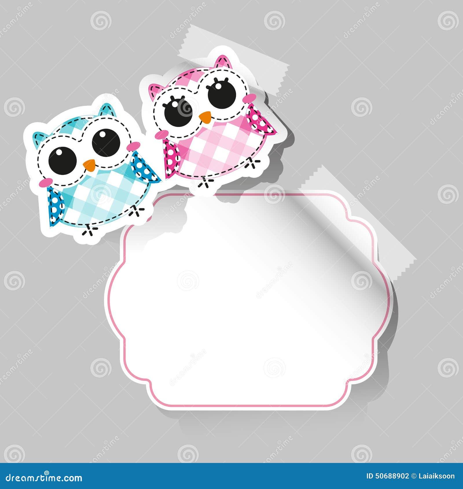 Download 动画片与地方的猫头鹰贴纸文本的 向量例证. 插画 包括有 附注, 记事本, 设计, 可弯的, 本质, 婴孩 - 50688902