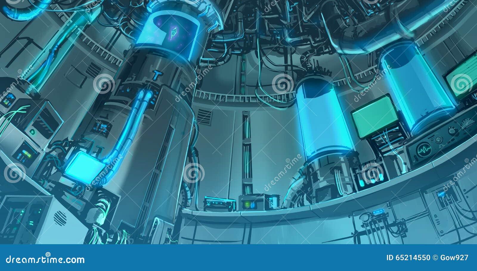 动画片例证巨型的科学labora banckground场面