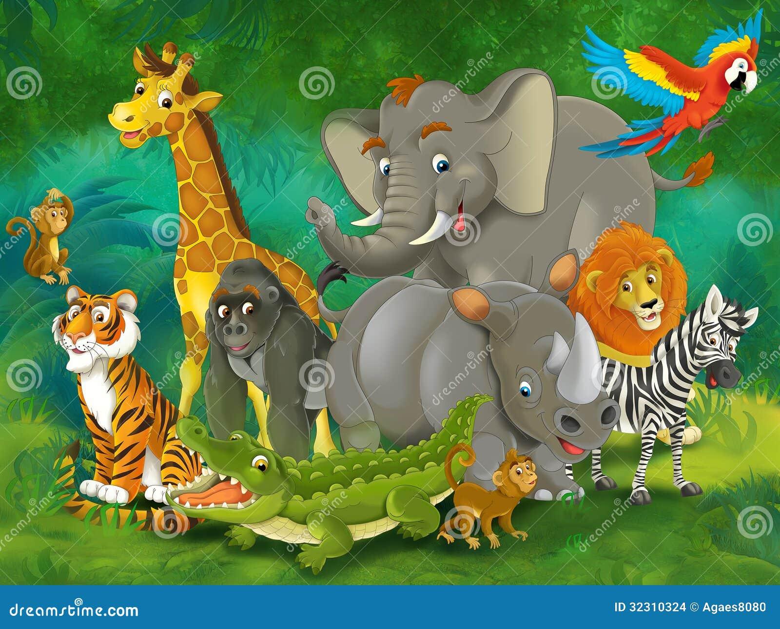 动画片动物园-游乐园-孩子的例证