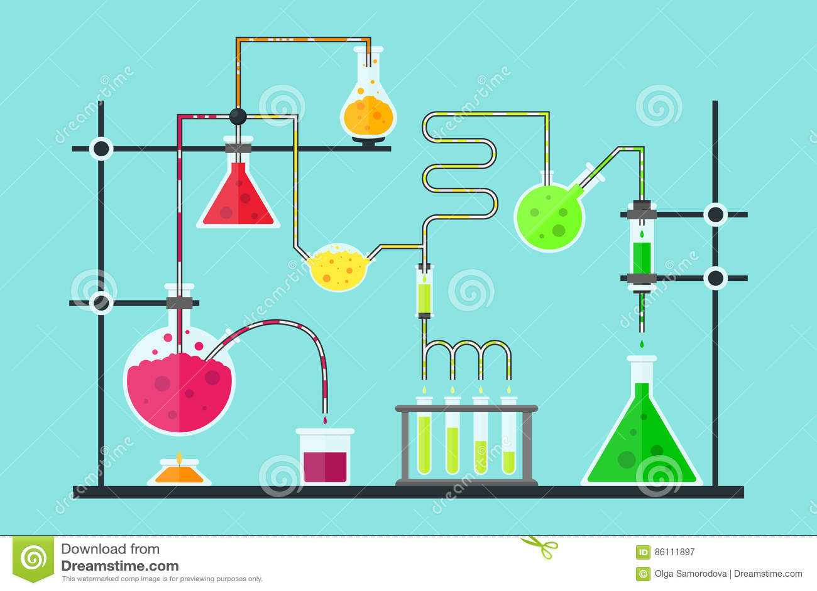 动画片化学制品实验室 向量