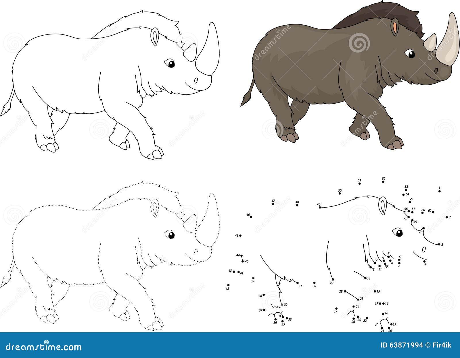 动画片史前犀牛 也corel凹道例证向量 加点的小点