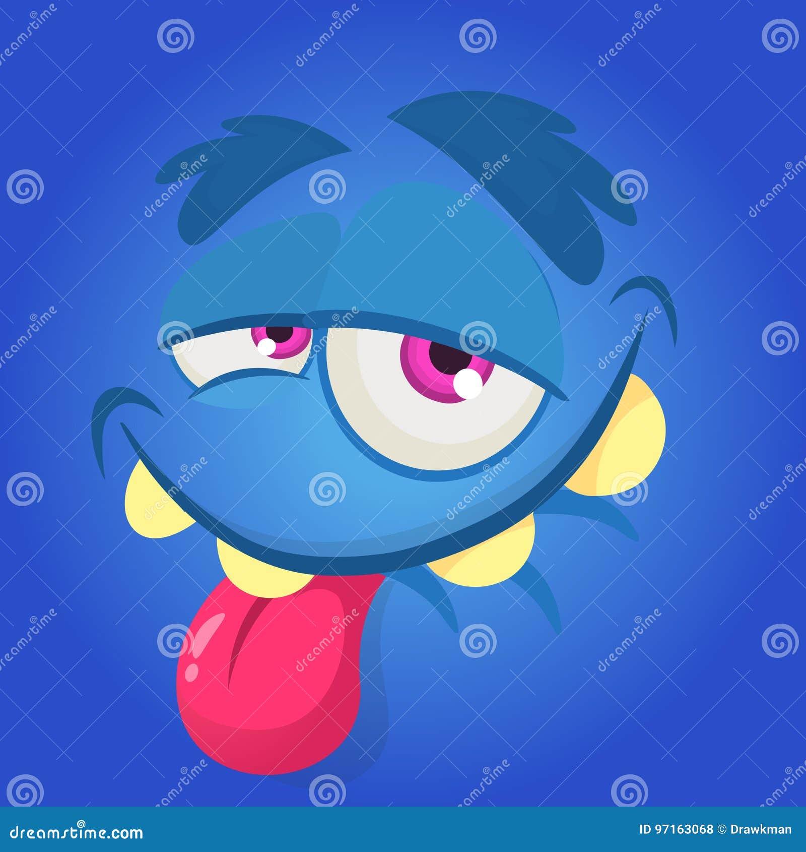 动画片妖怪面孔 传染媒介万圣夜蓝色愉快的妖怪正方形具体化